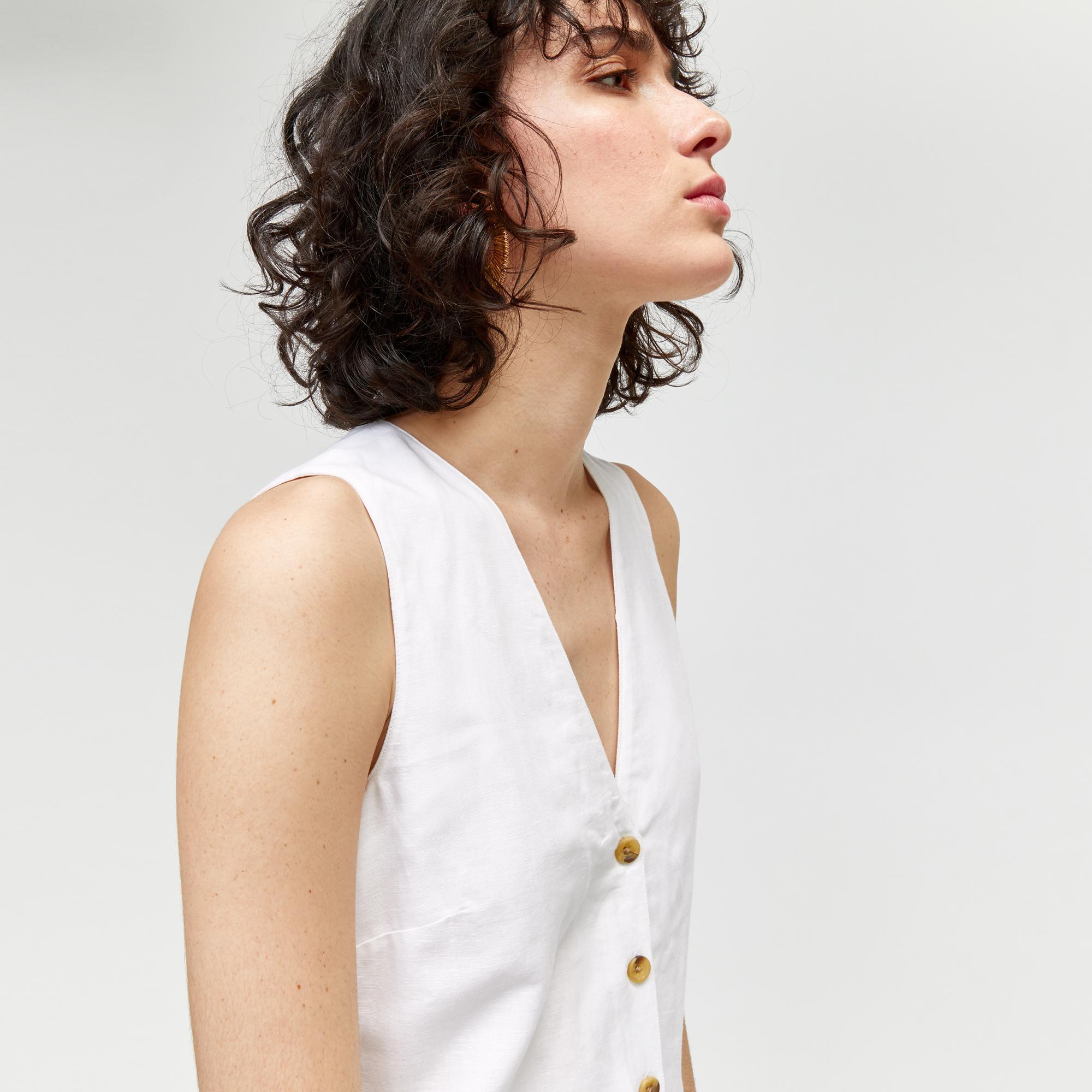 fc0029abedf5 Warehouse Linen Button Jumpsuit in White - Lyst
