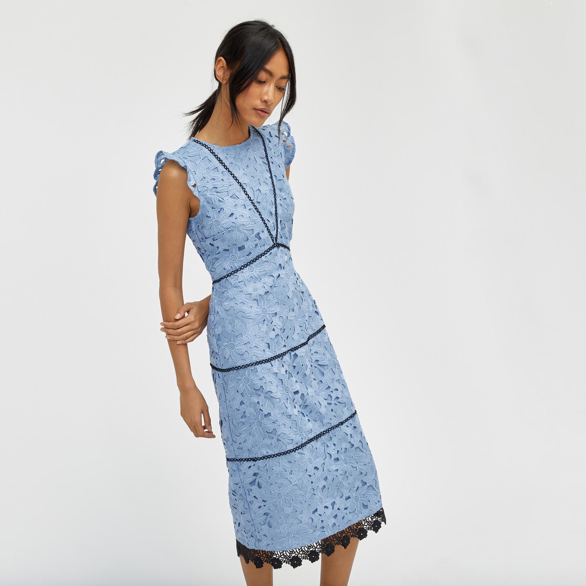 Warehouse Scallop Hem Lace Midi Dress in Blue - Lyst