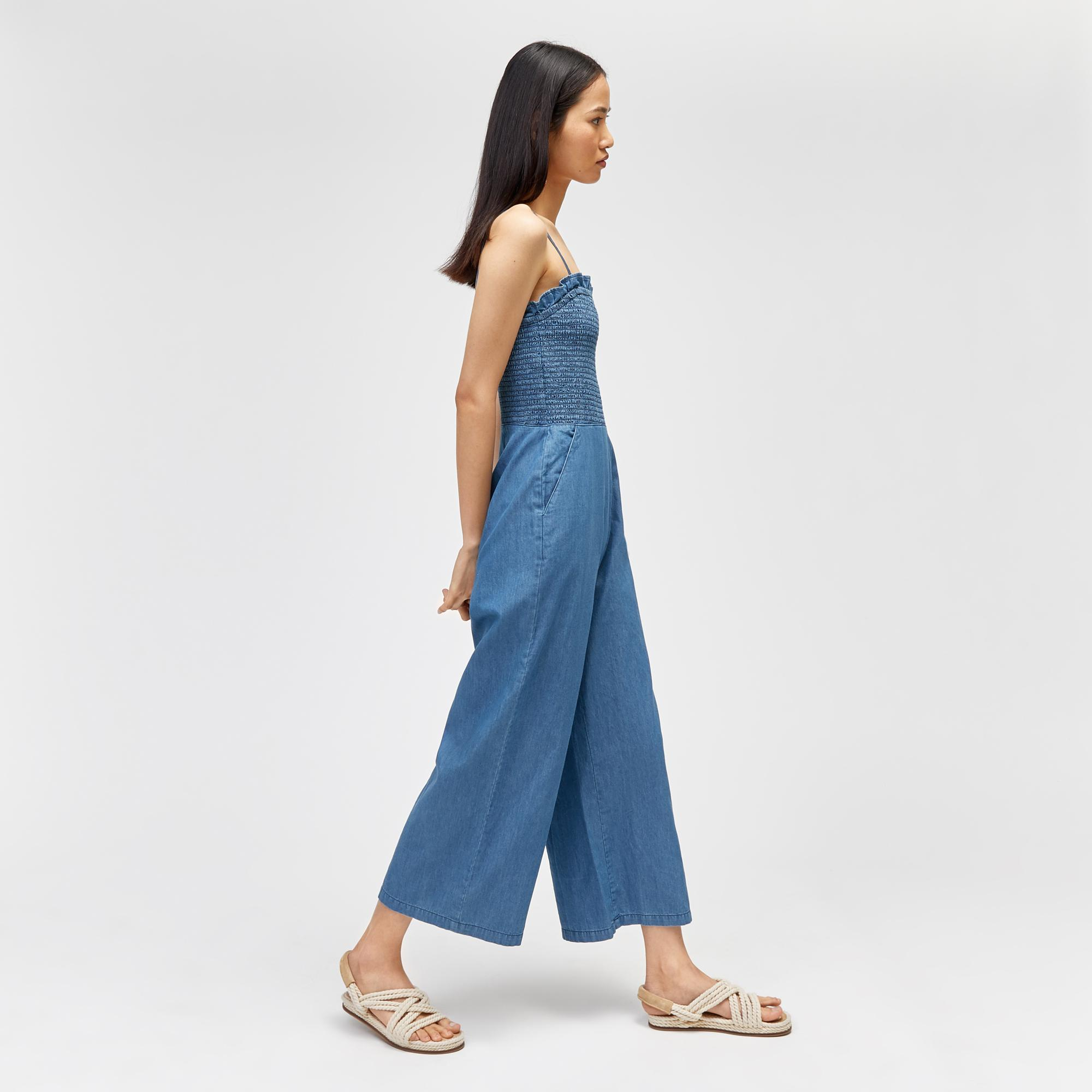 c5ce4ee21367 Warehouse Strappy Smock Jumpsuit in Blue - Lyst