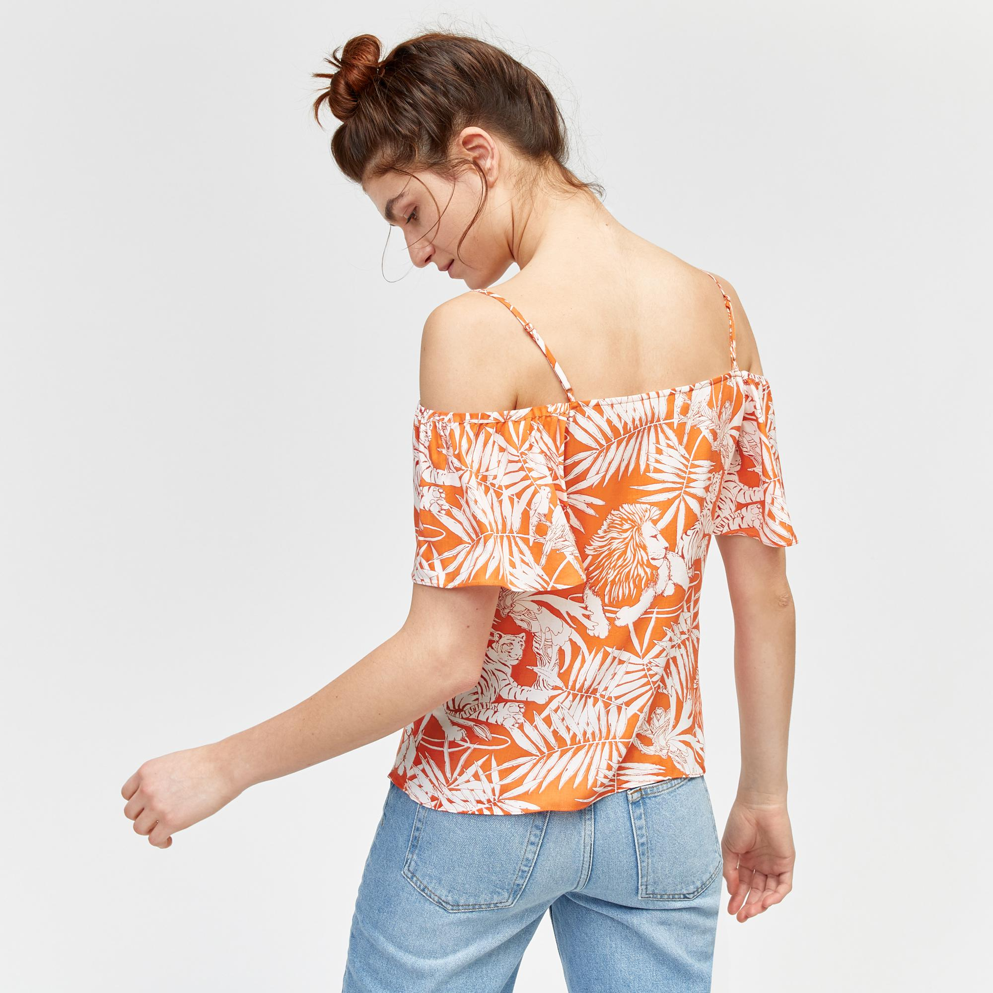 18c411f1116 Warehouse Sahara Print Cold Shoulder Top in Orange - Lyst
