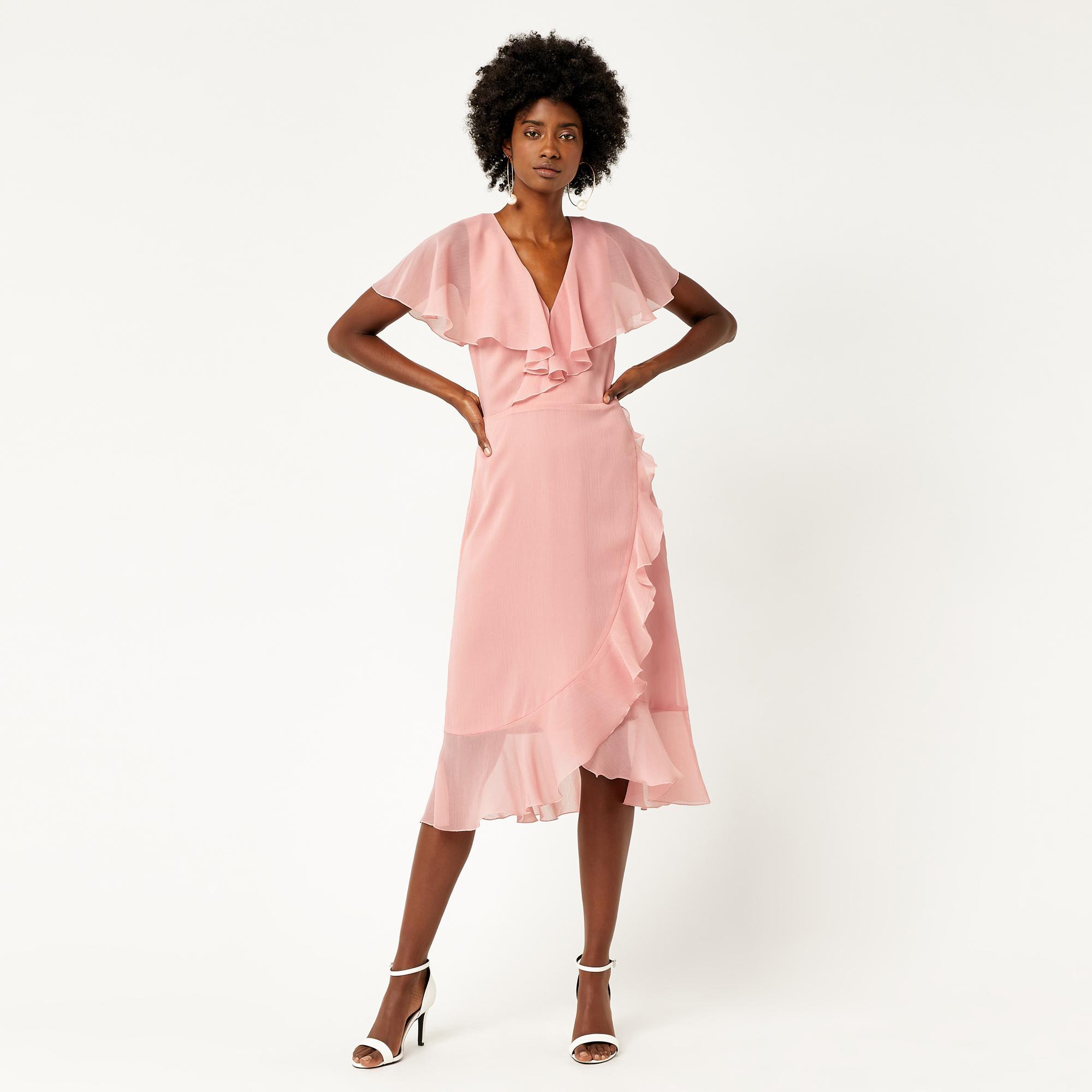 Warehouse Soft Ruffle Midi Dress in Pink - Save 54% - Lyst