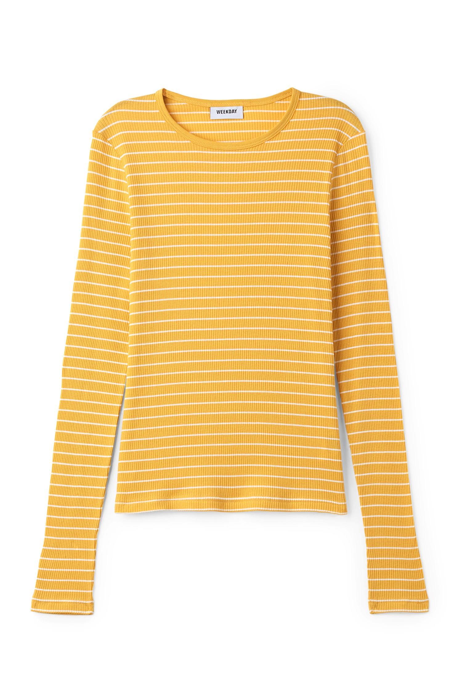Weekday tina long sleeve t shirt in yellow lyst for Yellow long sleeved t shirt