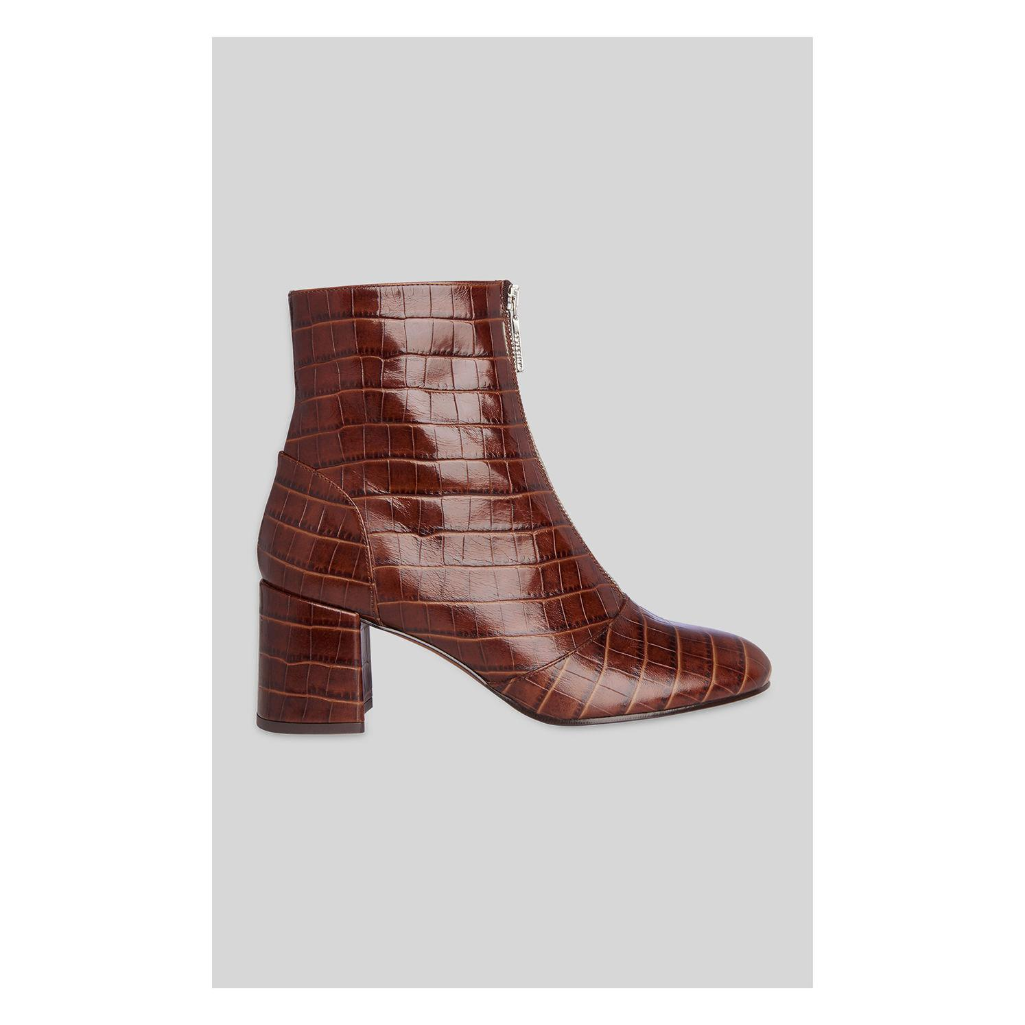 c272ae2cfd5 Whistles Rowan Croc Zip Front Boot in Brown - Lyst