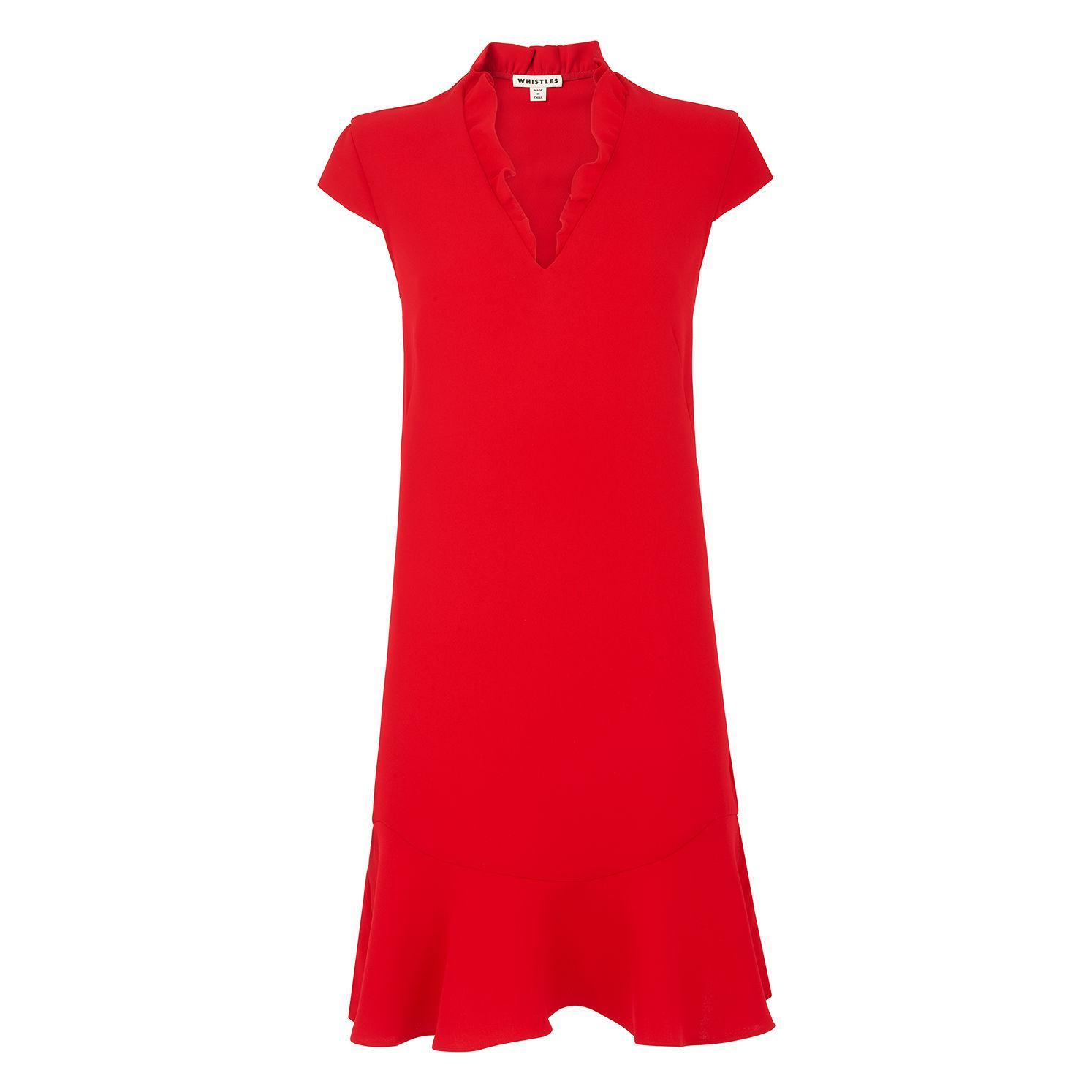 c2c080eae9 Whistles Federica Frill V-neck Dress in Red - Lyst