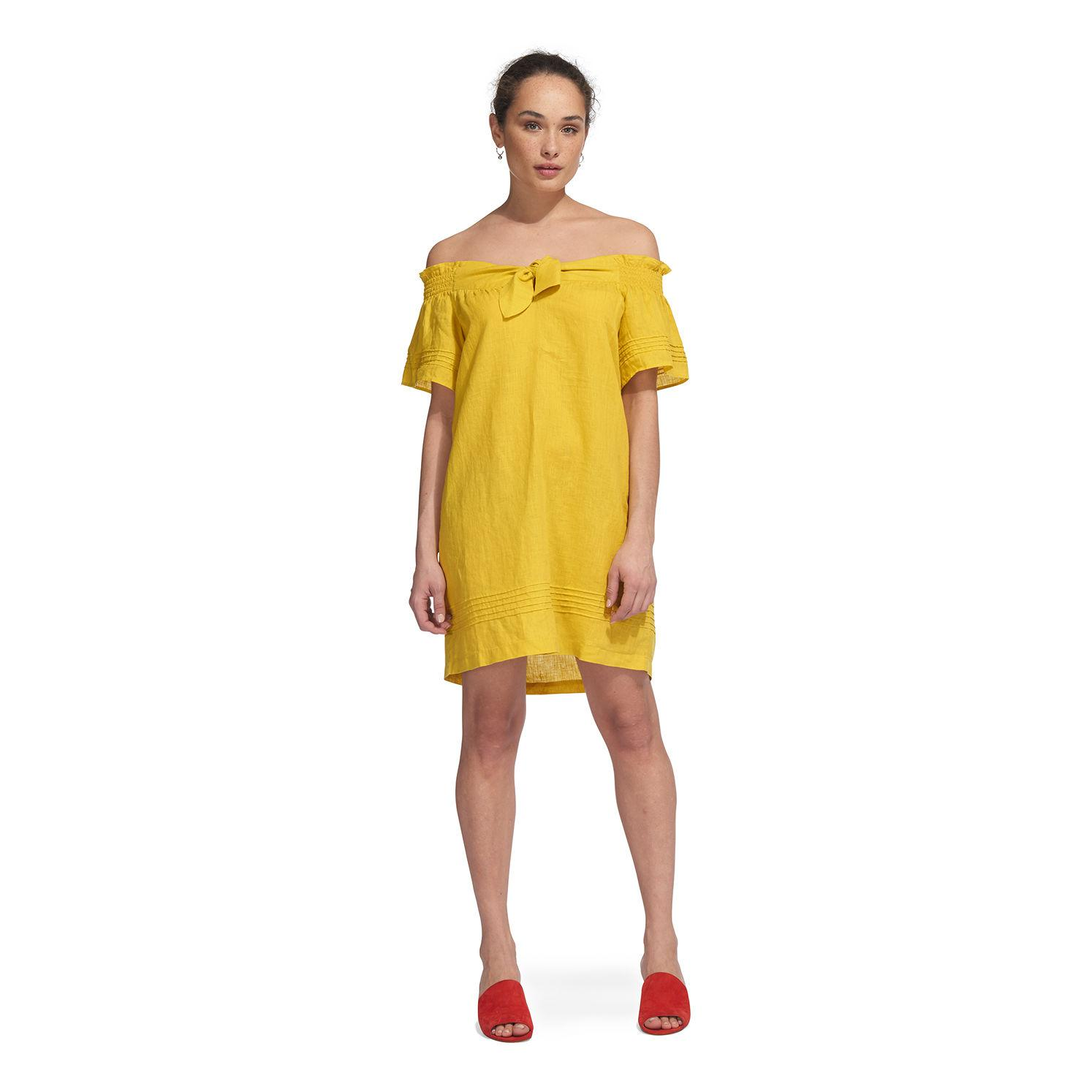 82ff13a2a3 Whistles - Yellow Linen Bardot Dress - Lyst. View fullscreen