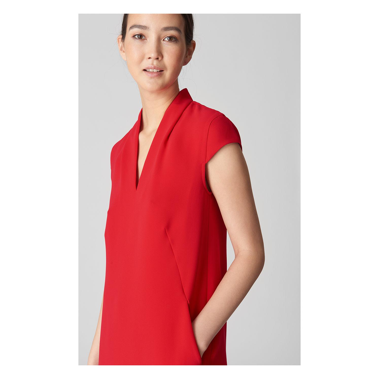 f238752d Whistles - Red Paige V Neck Crepe Dress - Lyst. View fullscreen