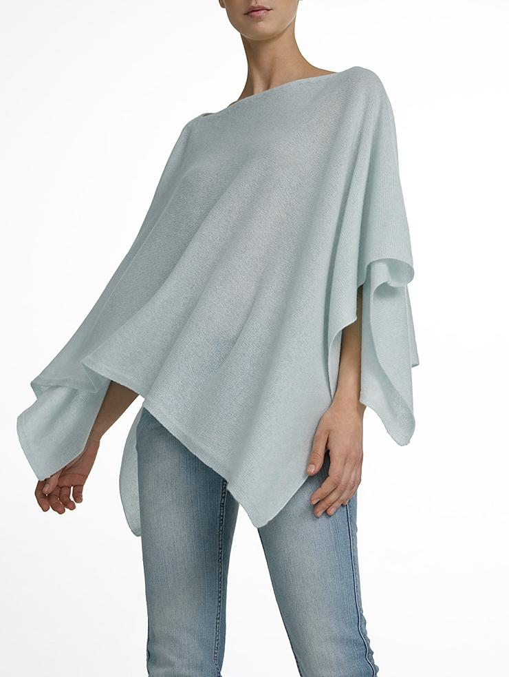 White + warren Cashmere Asymmetrical Poncho in Blue | Lyst