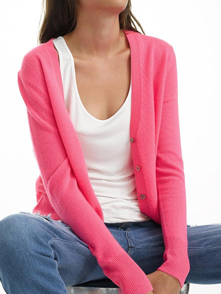 White + warren Essential Cashmere V Neck Cardigan in Pink ...