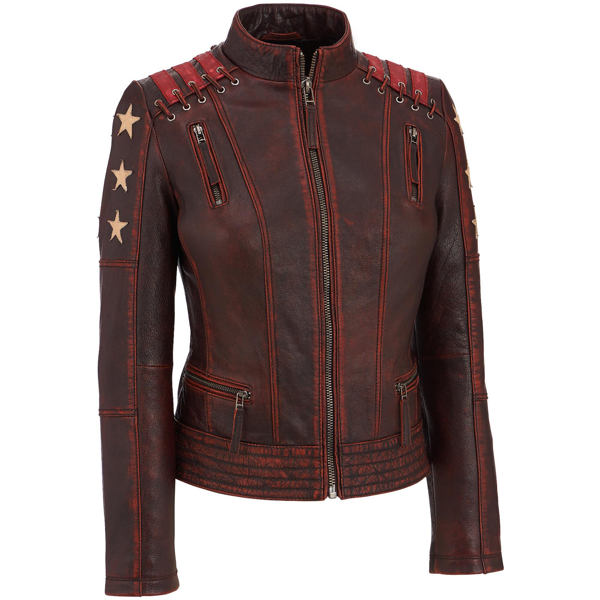31a8daa4a3032 Wilsons Leather - Multicolor Black Rivet Distressed Stars And Stripes  Leather Jacket W  Lacing Detail. View fullscreen