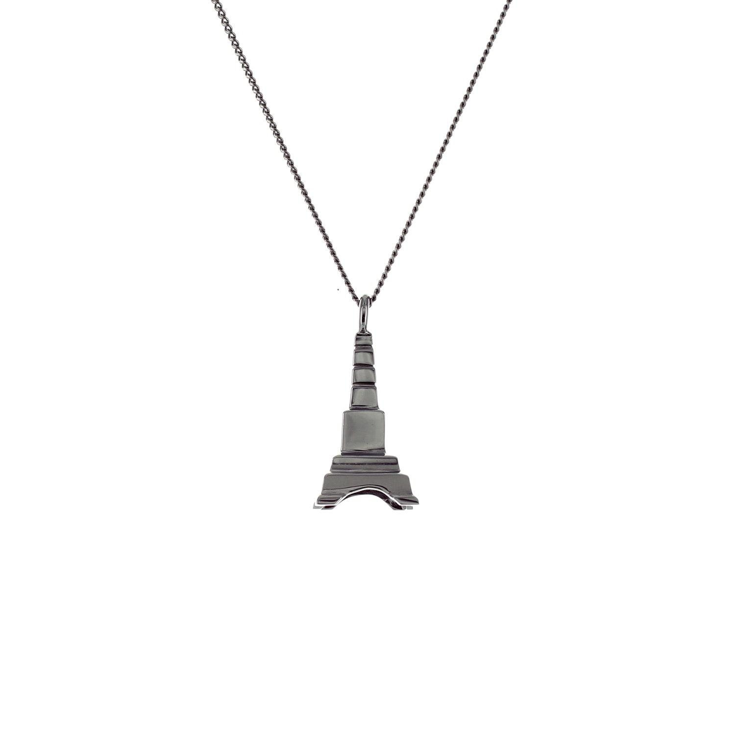 Origami Jewellery Sterling Silver Mini Eiffel Tower Origami Necklace NLgbbvzC9
