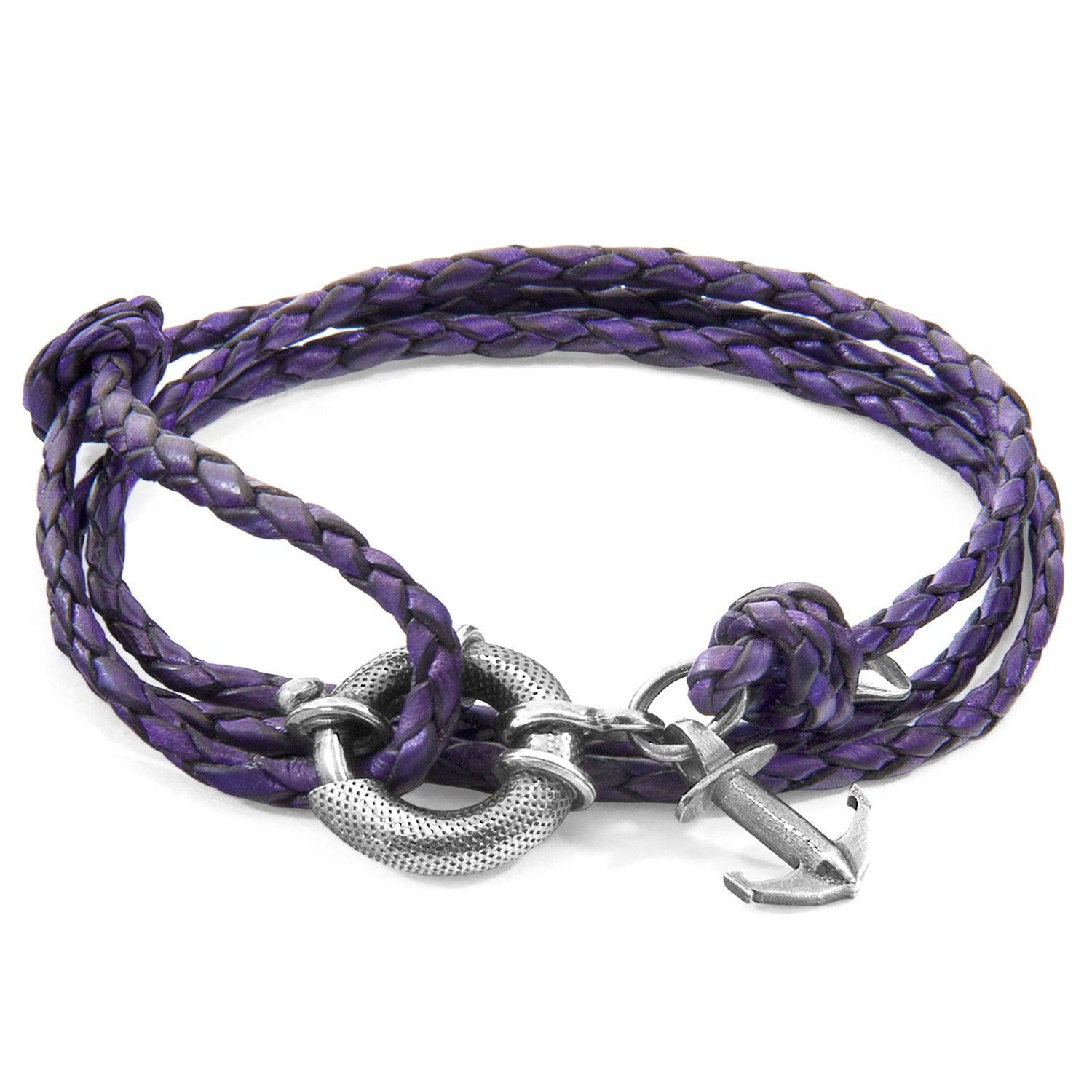 Anchor & Crew Grape Purple Clyde Silver and Leather Bracelet AWEmoR