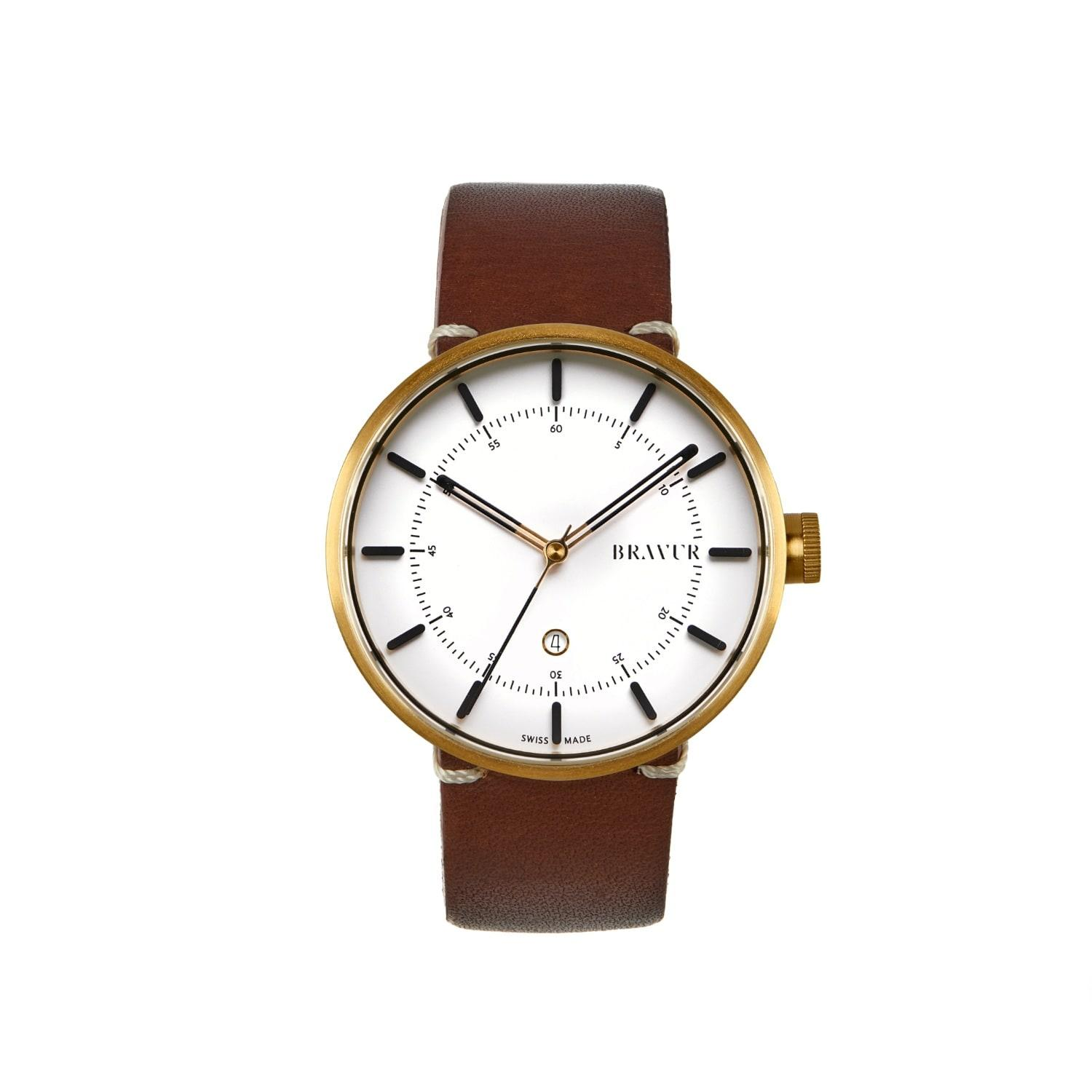 bravur gold with white dial brown strap in brown for men lyst. Black Bedroom Furniture Sets. Home Design Ideas