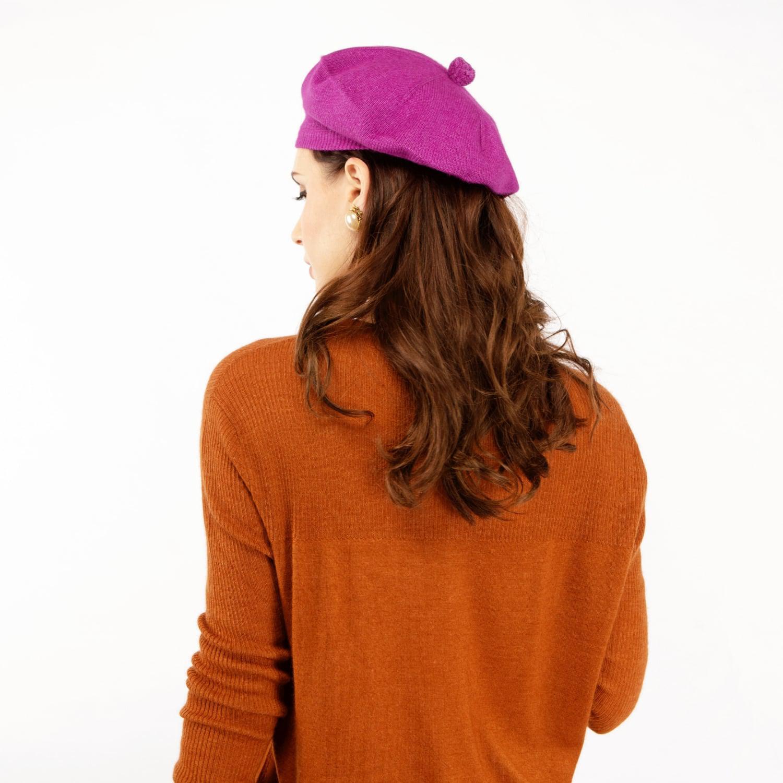 60fdb21017094 Asneh - Fallon Purple Pom-pom Knitted Silk Cashmere Beret - Lyst. View  fullscreen