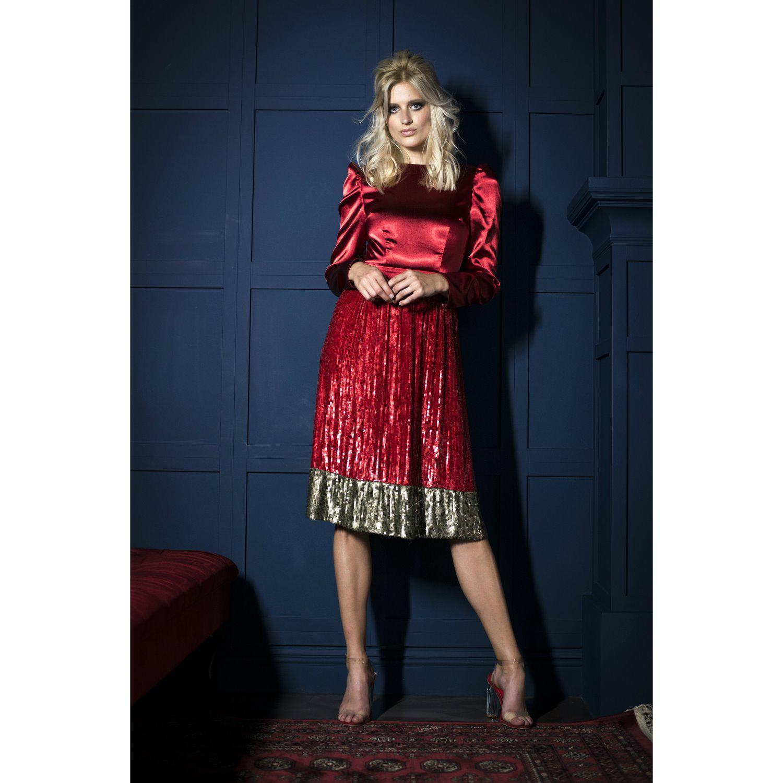8c3bd7b52b9 Jiri Kalfar Red   Gold Sequin Dress in Red - Lyst