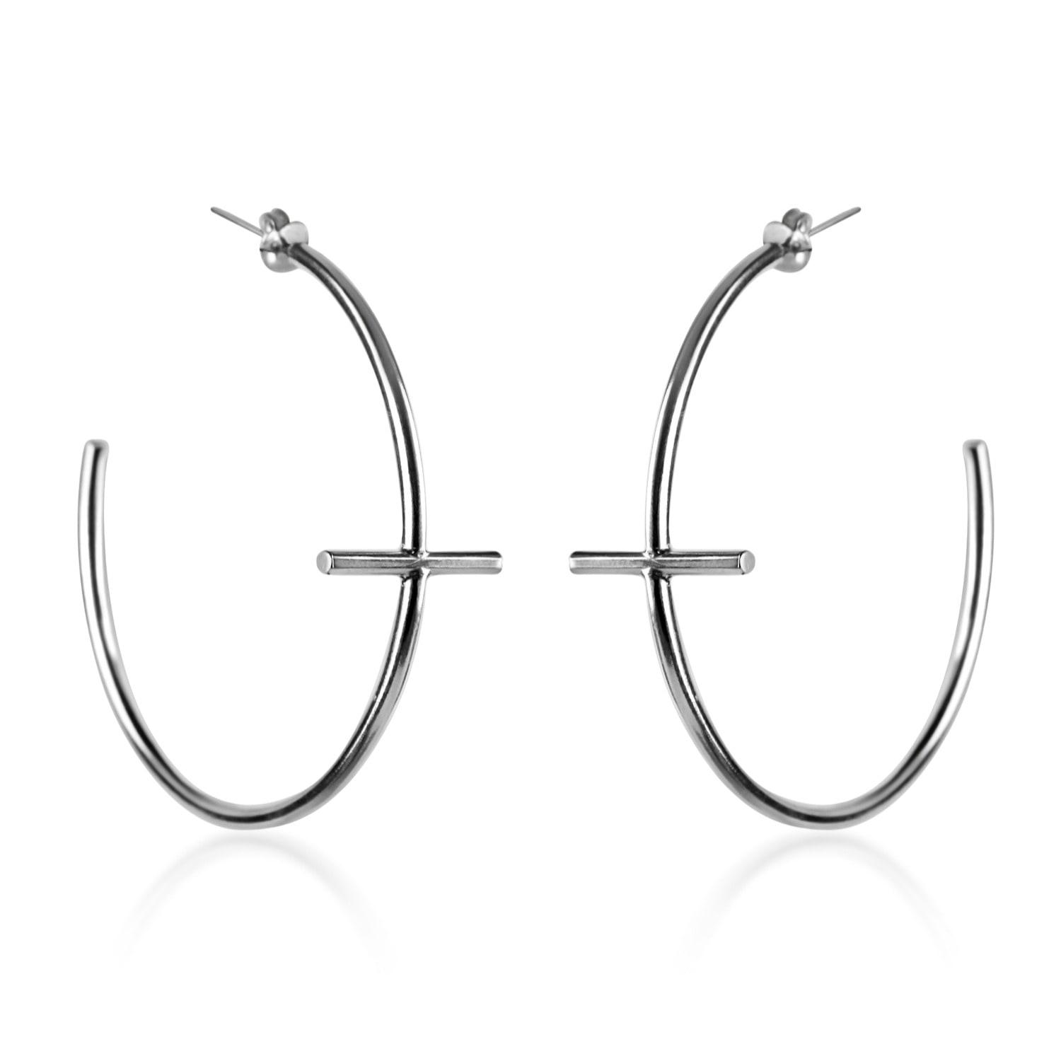 8bc8eac2f Lyst - Marcia Vidal Large Silver Cross Hoop Earrings in Metallic