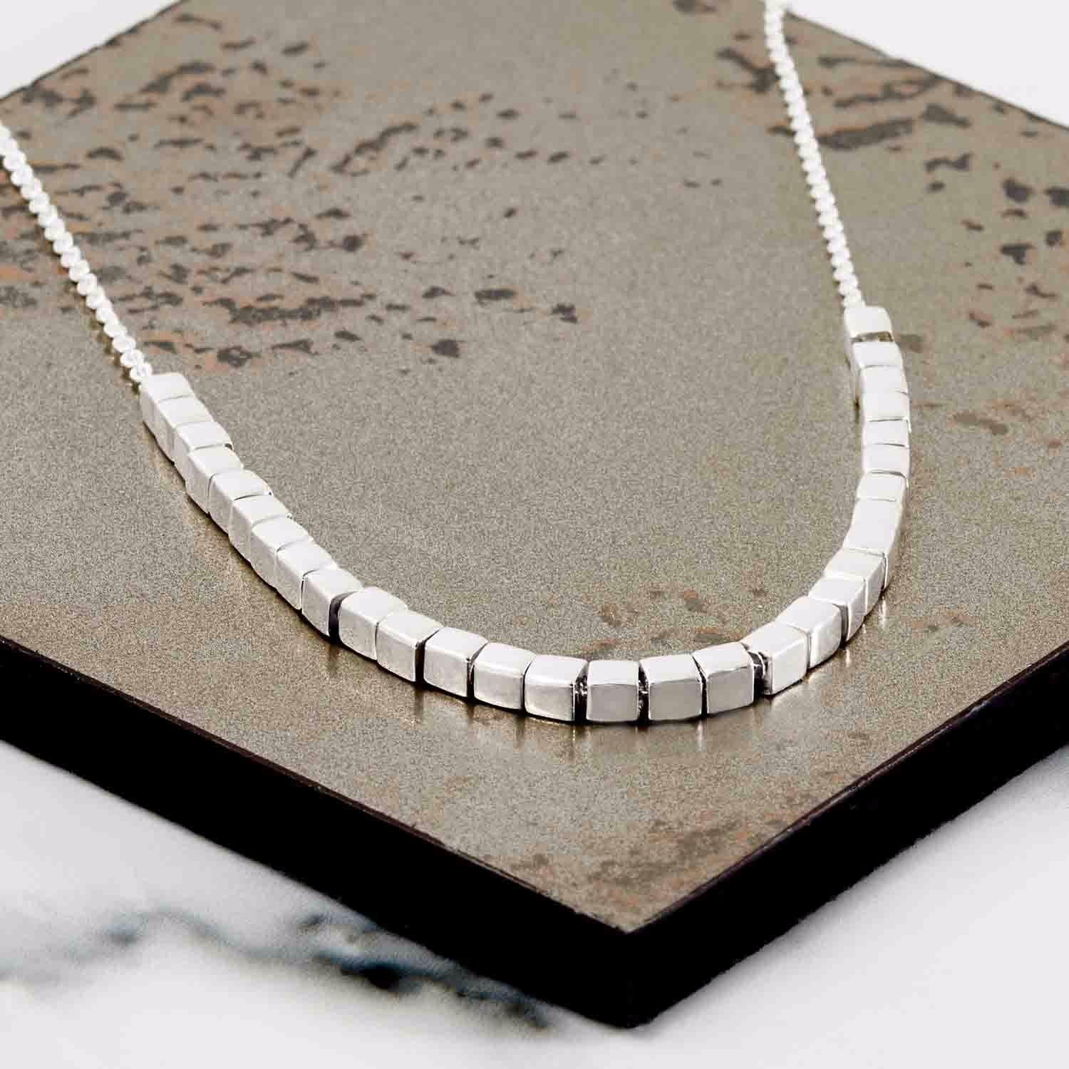Neola Cube Silver Necklace