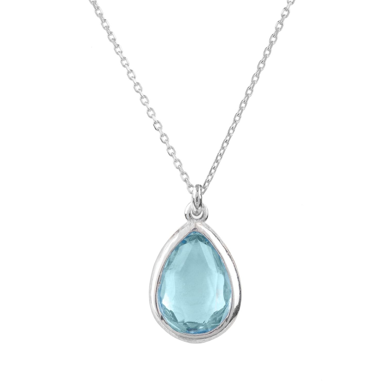 Latelita London Pisa Mini Teardrop Necklace Gold Blue Topaz xpeYaSWE