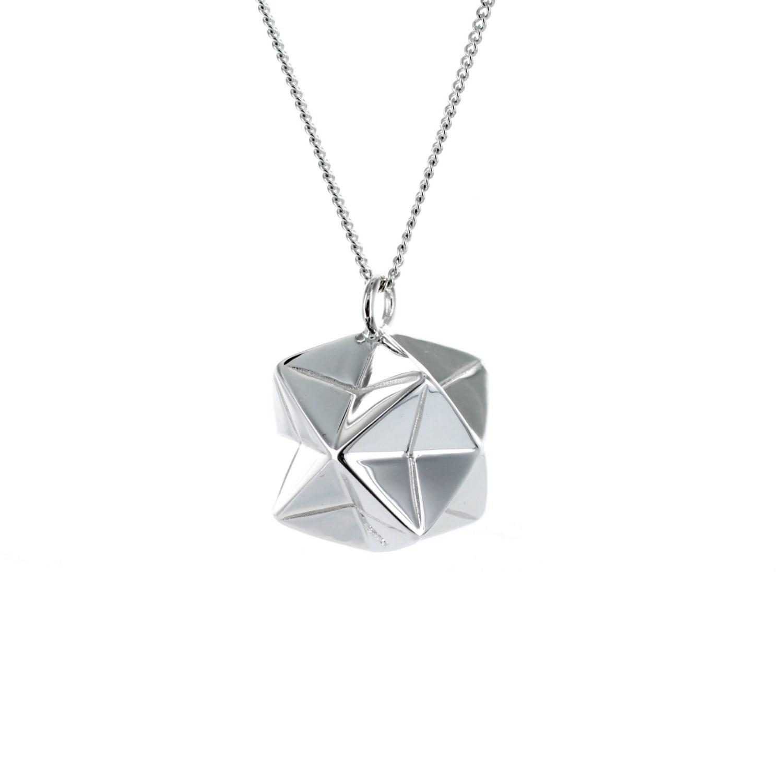 Origami Jewellery Titanium Black Silver Crab Necklace zm9yZ3x6