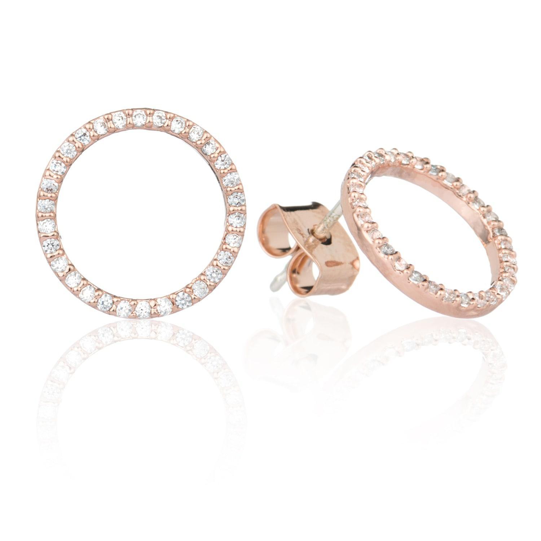 9682d1127 Astrid & Miyu Tuxedo Circle Stud Earrings In Rose Gold in Metallic ...