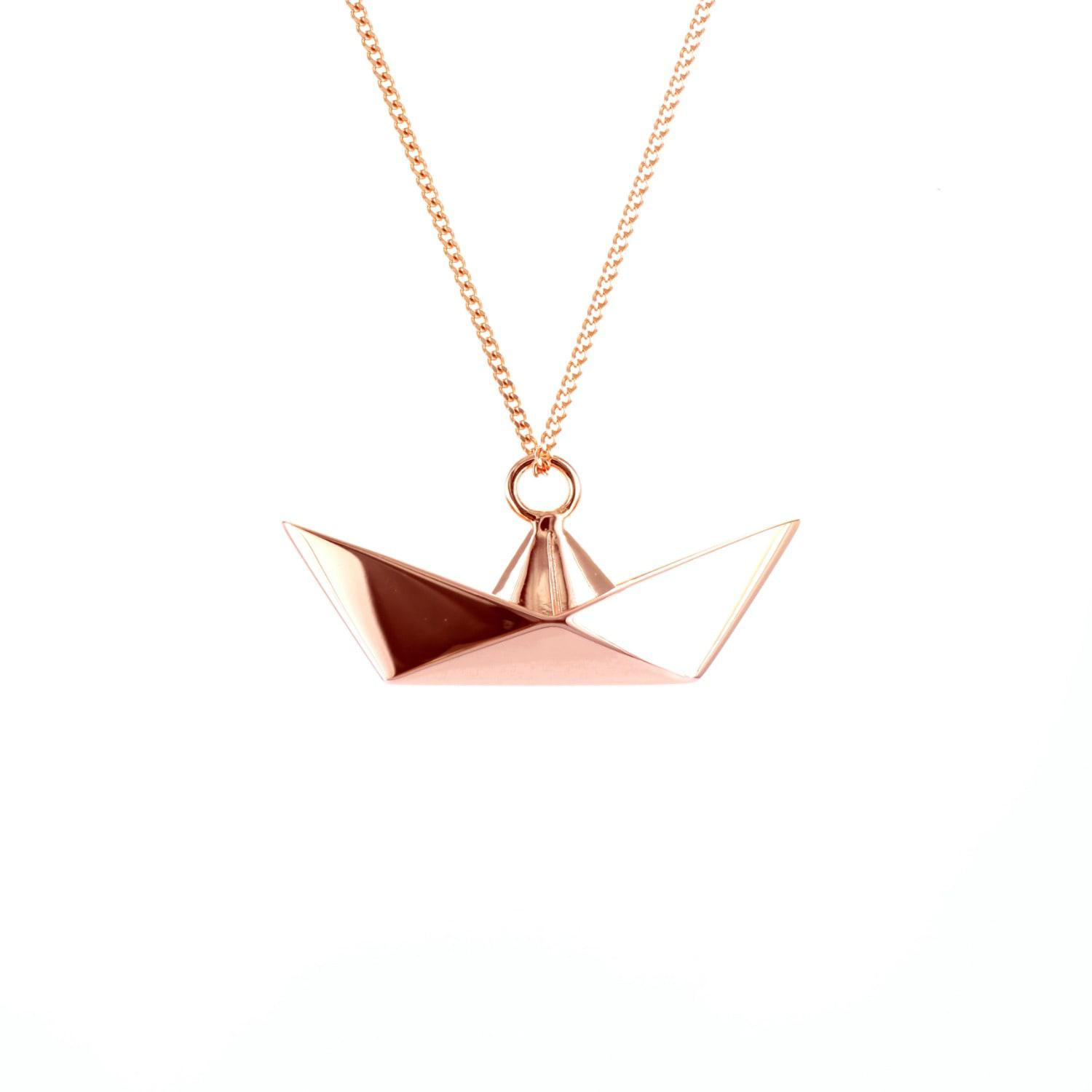 Origami Jewellery Sterling Silver & Pink Gold Mini Boat Origami Necklace l434vMoV8