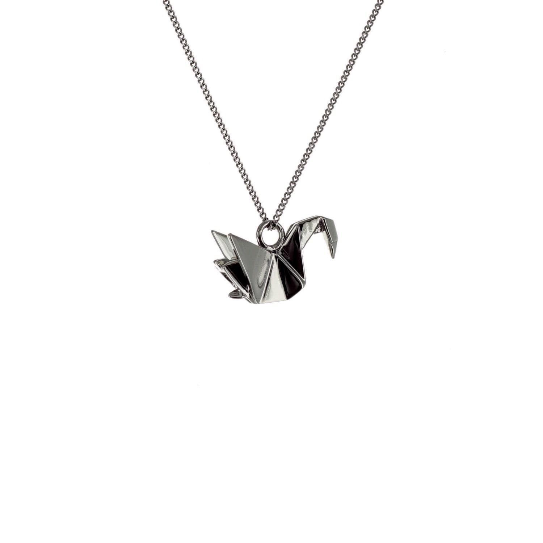 Origami Jewellery Black Silver Mini Swan Origami Necklace Ve1sKS23