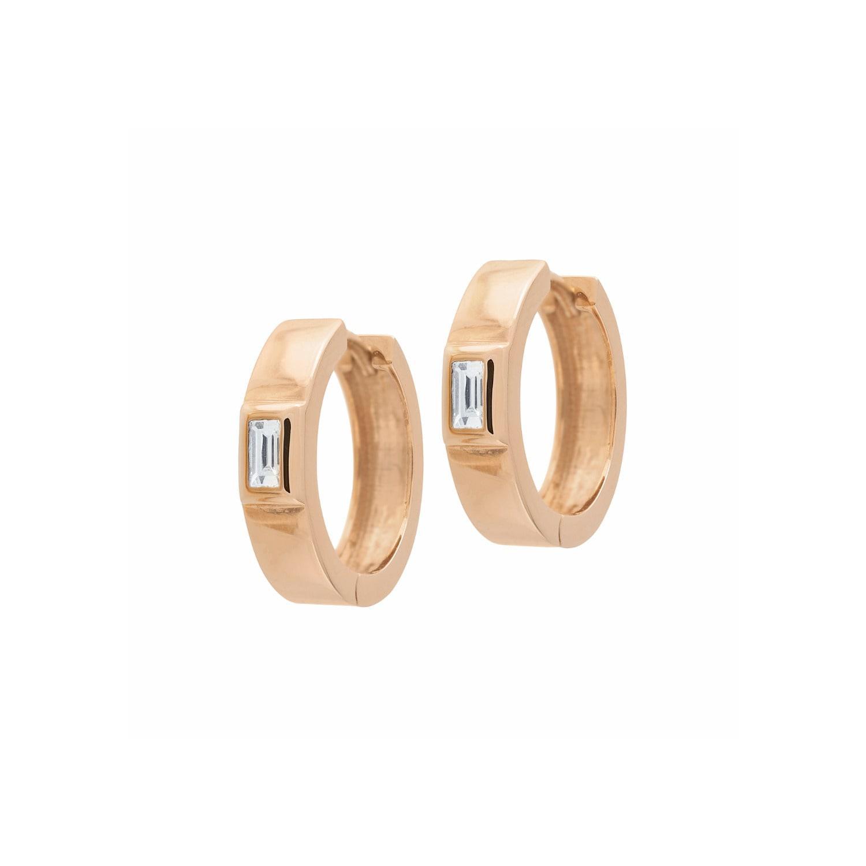 Jezebel London 14kt Rose Gold Plain Millennium Hoop Earring 86nuv5Ql