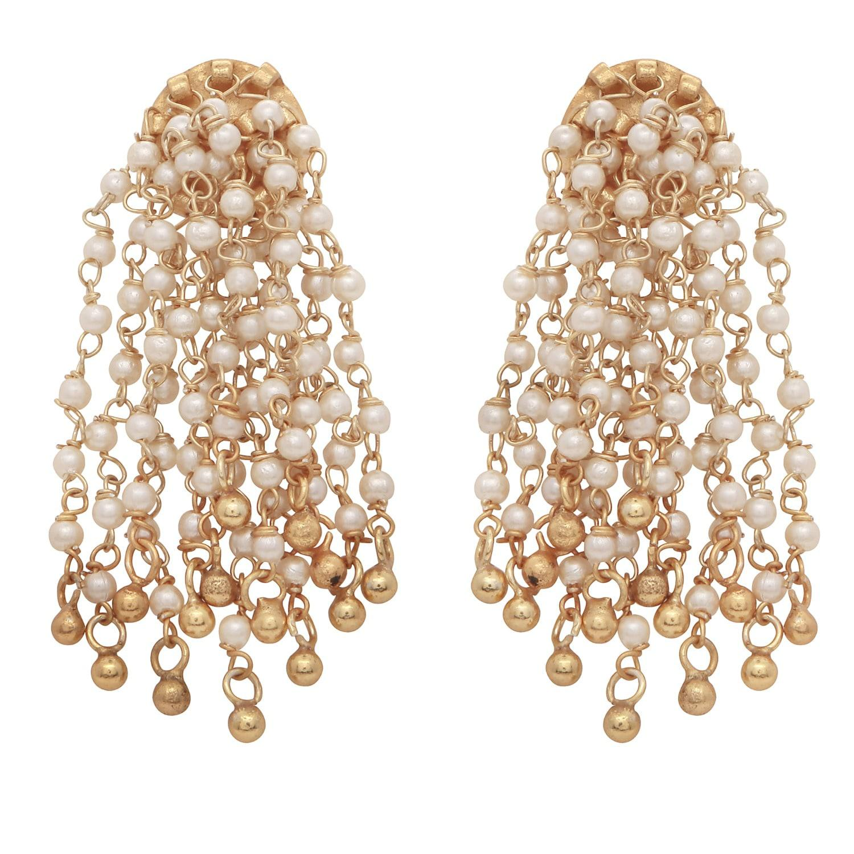 68c0a69fb Carousel Jewels Pearl Waterfall Earrings in Metallic - Lyst