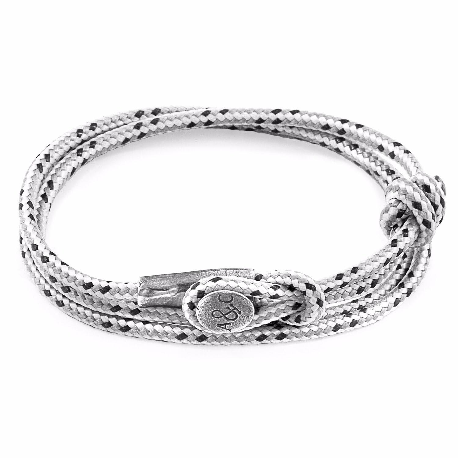 Anchor & Crew Black Dundee Silver and Rope Bracelet XKOCk