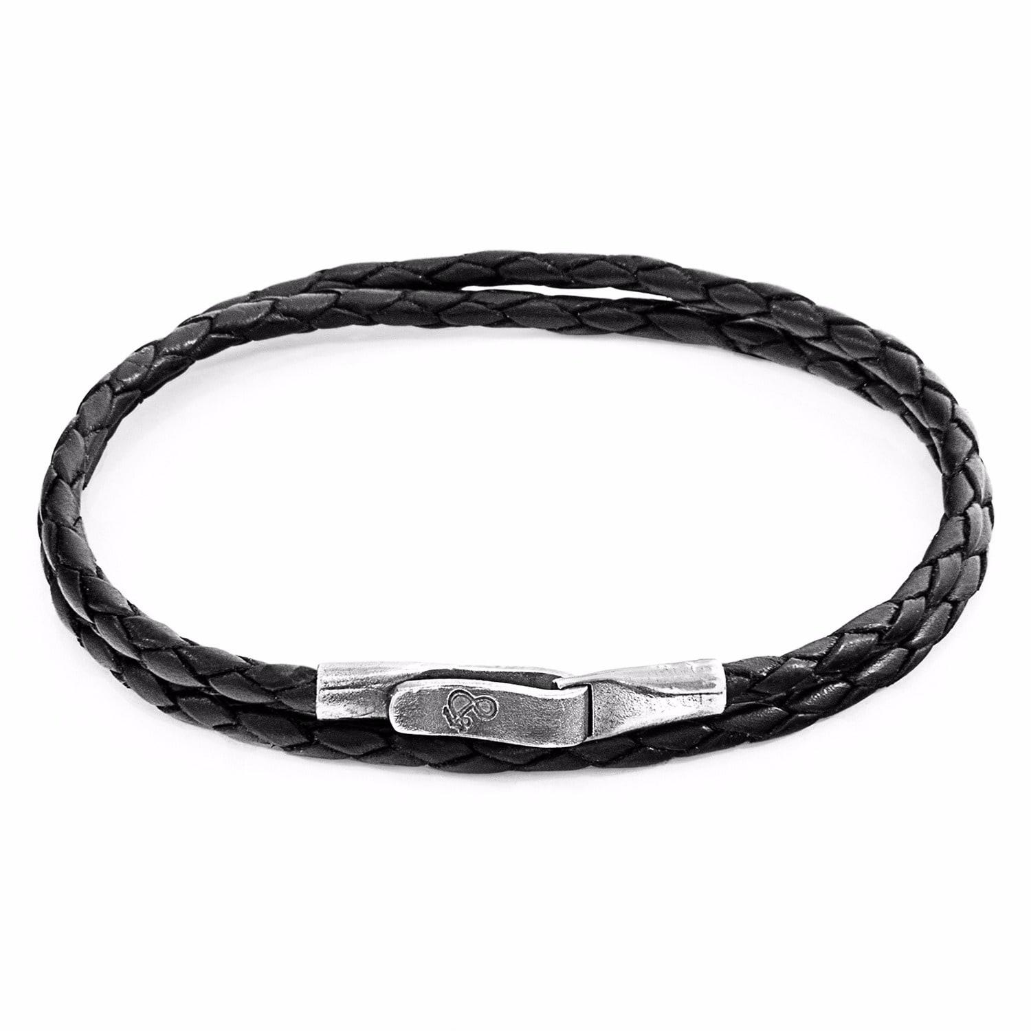 Anchor & Crew Coal Black Dundee Silver and Leather Bracelet mRS1anYET