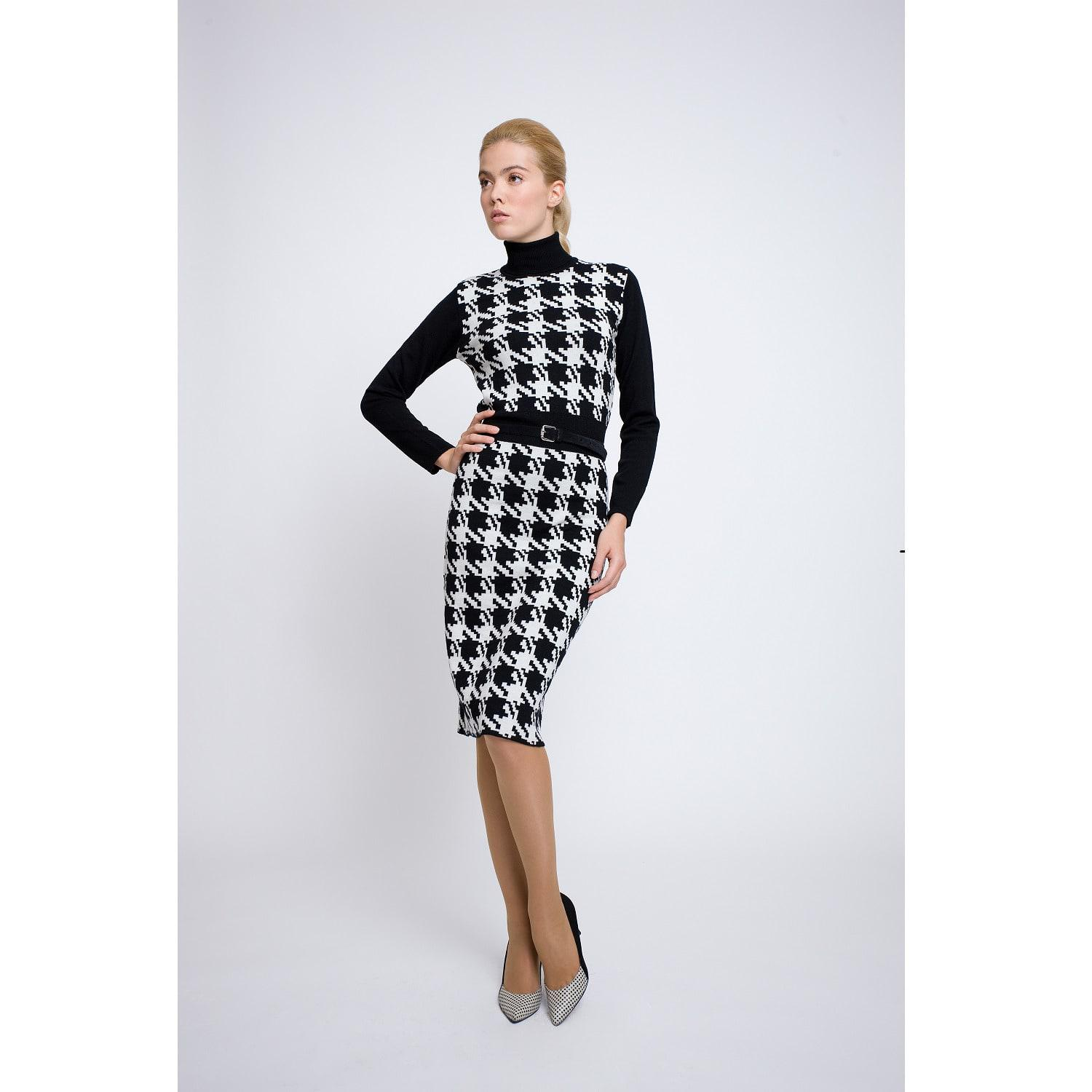 77c32d30af918 Rumour London - White Lina Houndstooth Merino Wool Knitted Dress - Lyst.  View fullscreen