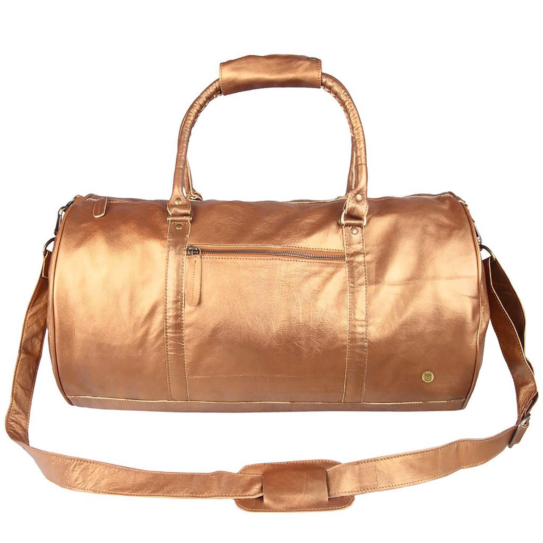 MAHI Leather - Metallic Leather Weekend Classic Duffle   Holdall Bag In  Bronze - Lyst. View fullscreen 70915c259c26a