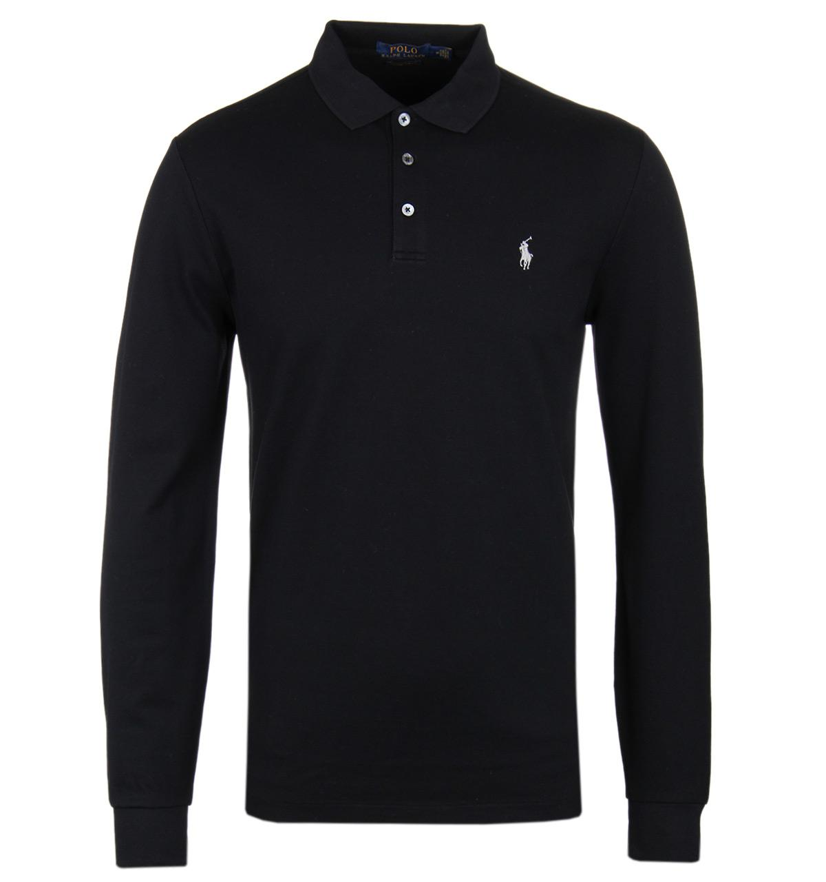Polo ralph lauren black long sleeve stretch pique polo for Mens long sleeve pique polo shirts