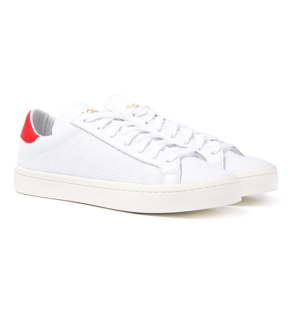 Lyst adidas Originals blanco & rojo corte Vantage formadores en blanco