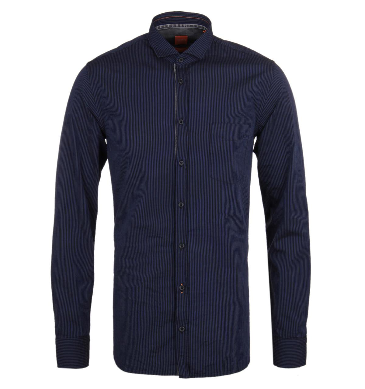 Boss orange cattitude navy stripe long sleeve shirt in for Navy blue striped long sleeve shirt