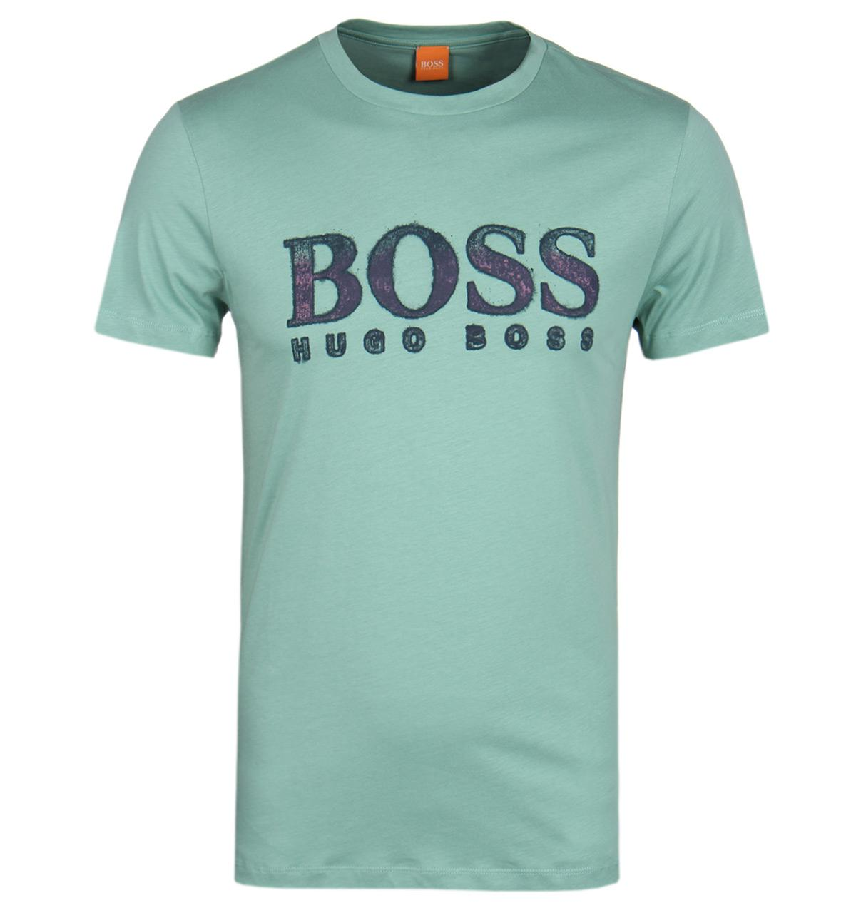 boss orange turbulence 2 pale green crew neck t shirt in. Black Bedroom Furniture Sets. Home Design Ideas