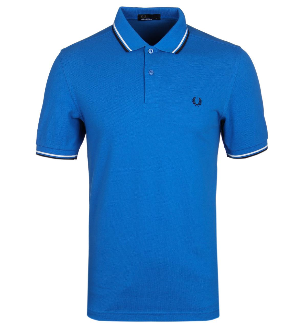 Fred Perry Royal Blue Twin Tipped Short Sleeve Pique Polo