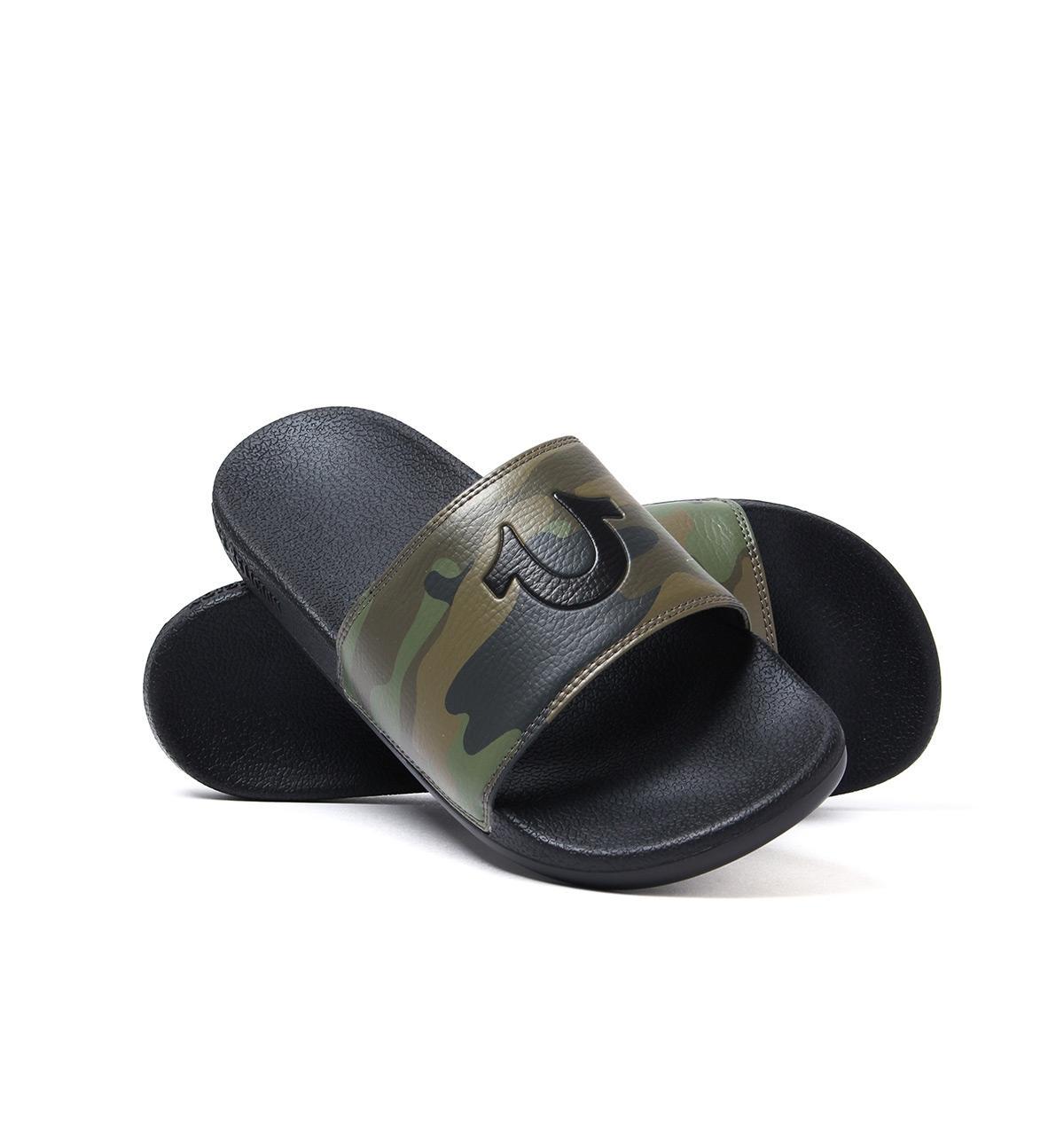 0eba2d32e082 True Religion Camo   Black Pool Slides With Woven Carry Bag in Black ...