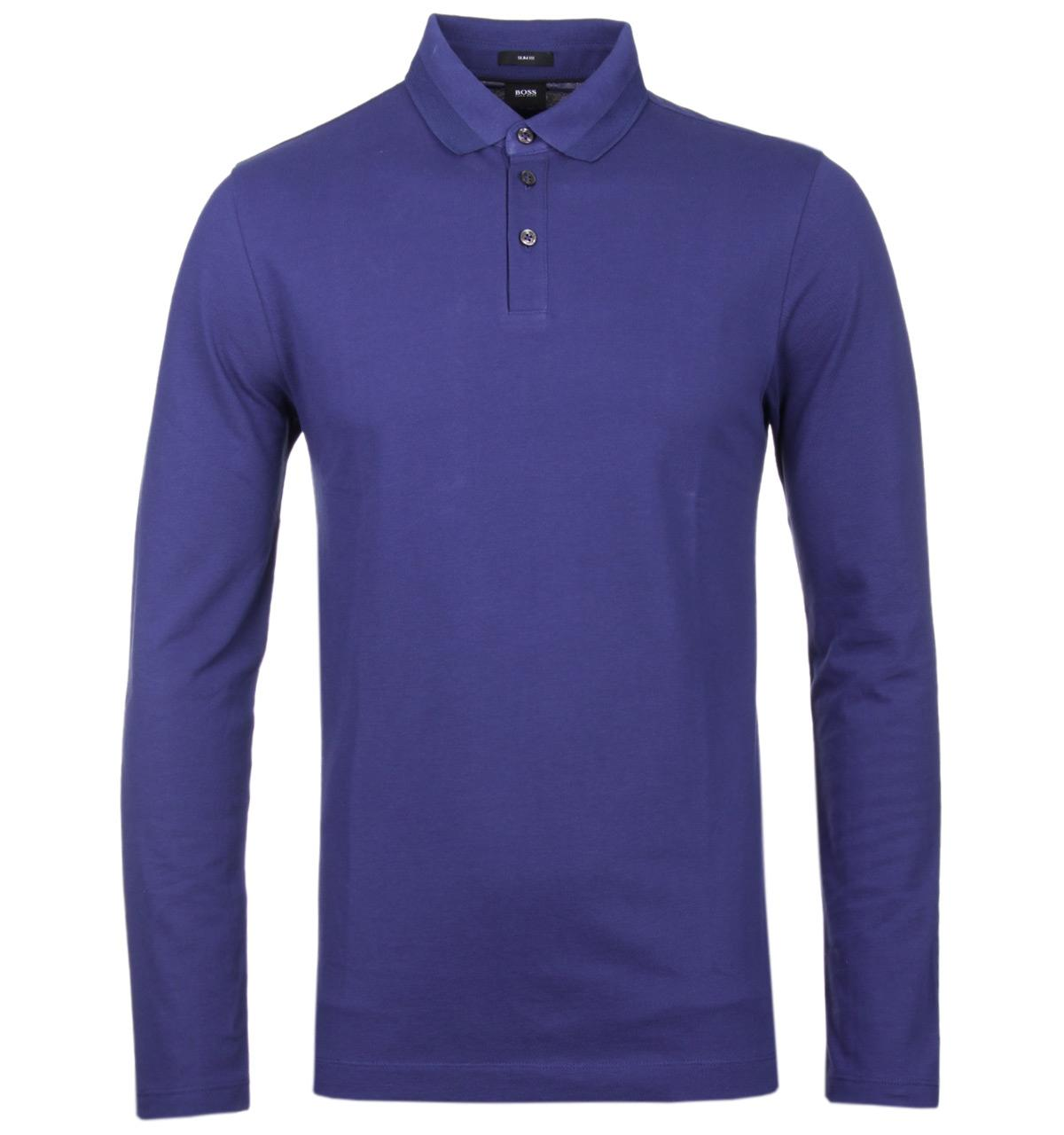 Lyst Boss Pleins 03 Royal Blue Long Sleeve Polo Shirt In