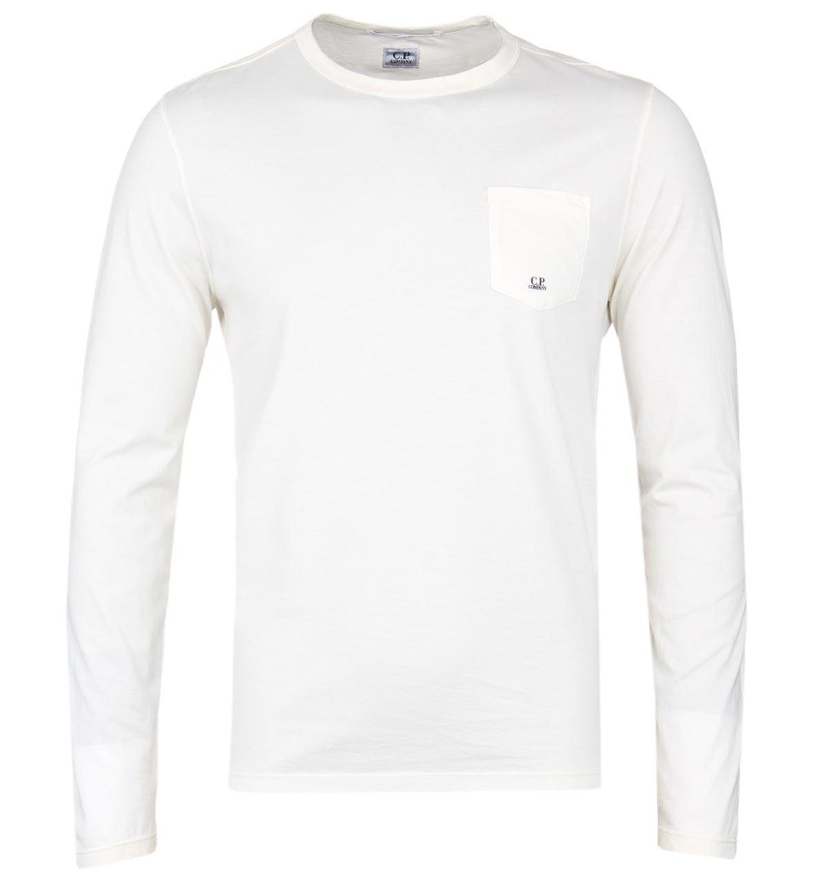 d2347b12c60 C P Company Long Sleeve Ecru Mako Cotton T-shirt in White for Men - Lyst