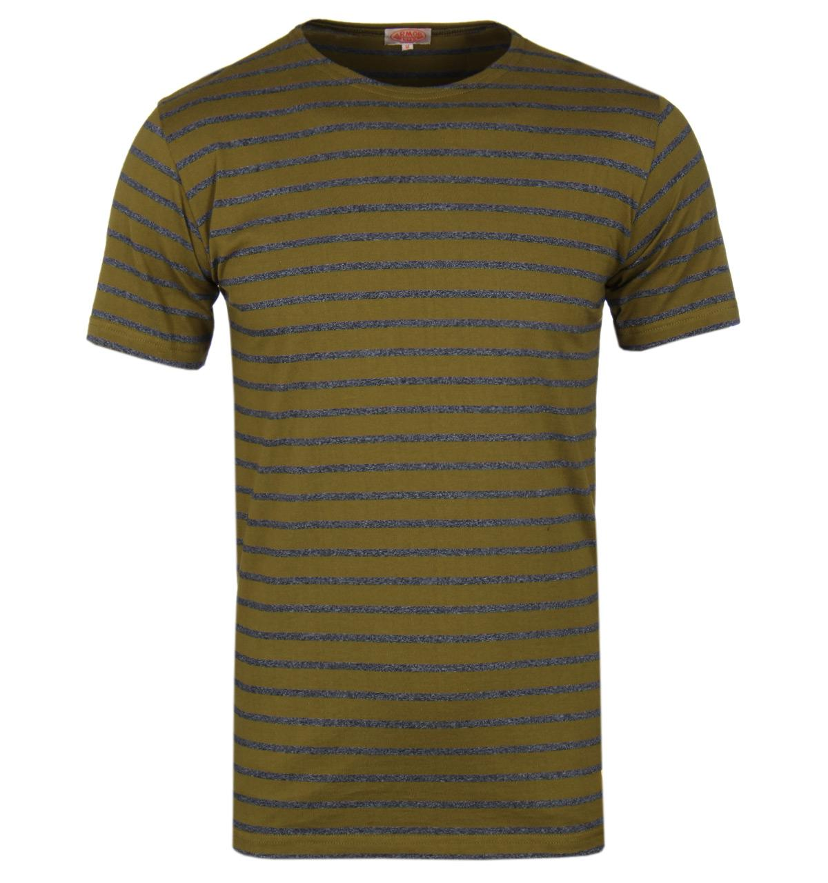 Armor lux mariniere olive green grey stripe short sleeve - Olive green and grey ...
