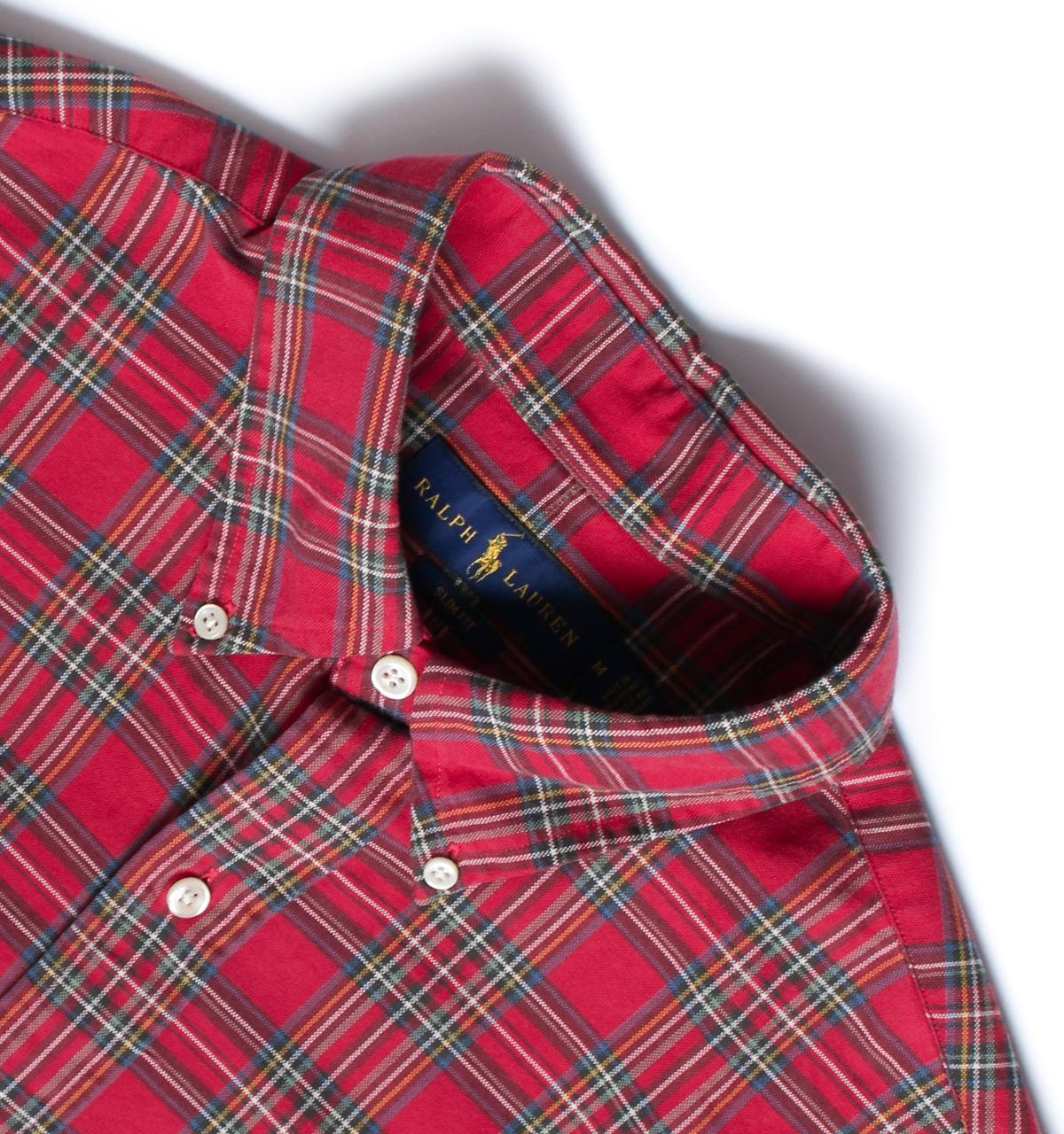 502e206f4 Polo Ralph Lauren Red   Green Plaid Slim Fit Pocket Oxford Shirt in ...