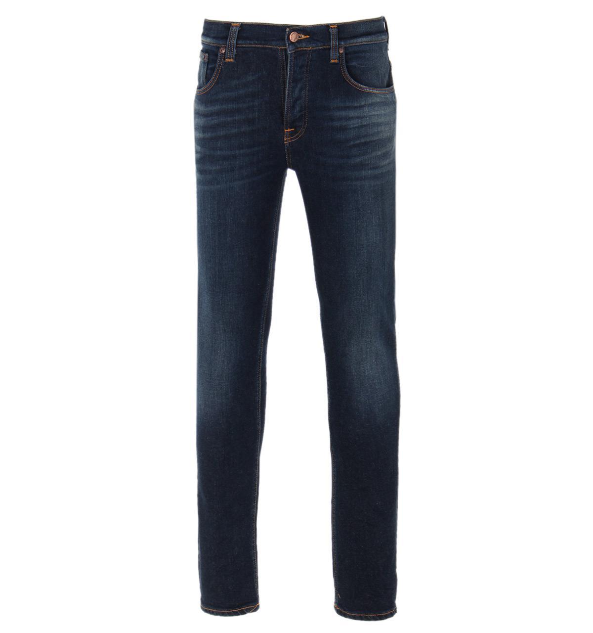 nudie jeans grim tim endorsed indigo stretch denim jeans in blue for men lyst. Black Bedroom Furniture Sets. Home Design Ideas