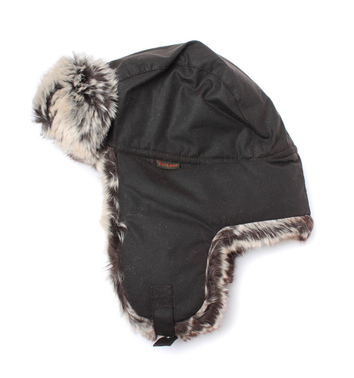 08b41d7f23b Lyst - Barbour Hardwick Olive Green Fur Trim Trapper Hat in Green ...