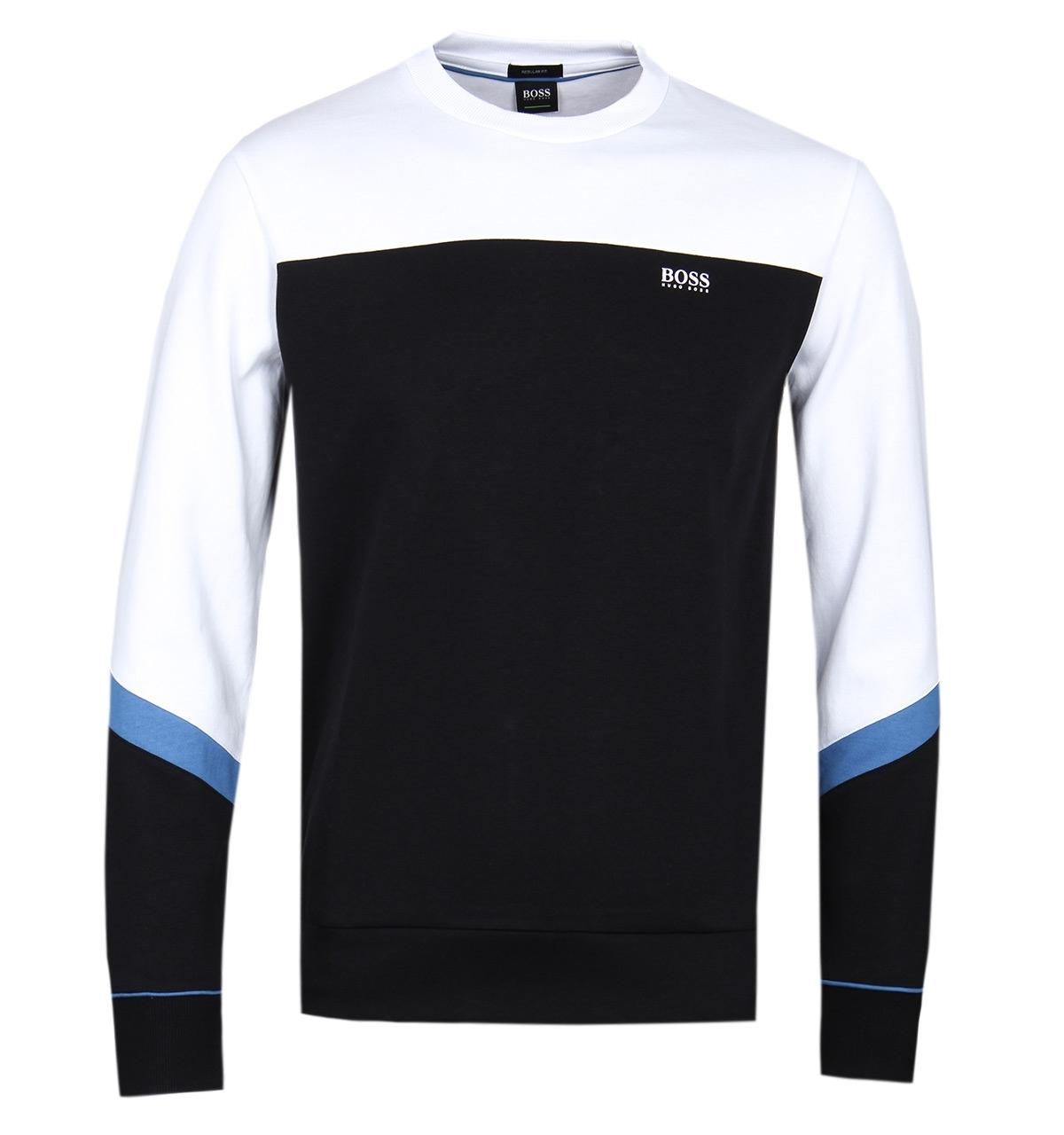 13414b419 BOSS Green Boss Salbo2 Black Crew Neck Sweatshirt in Black for Men ...