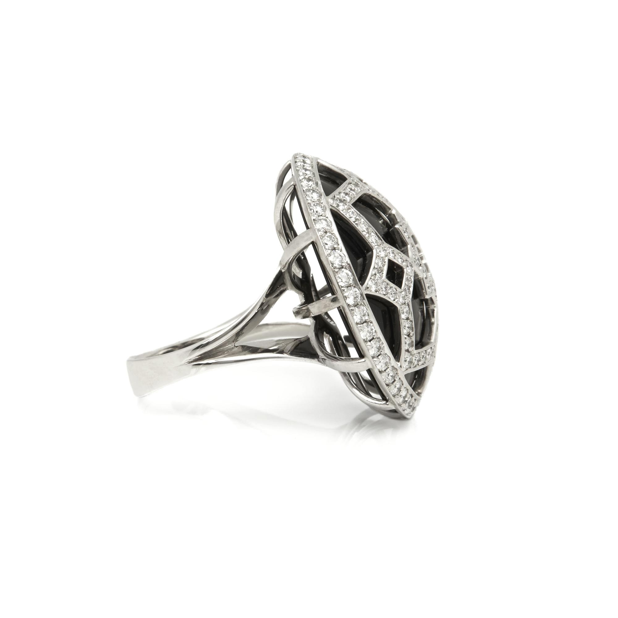 44b1ccfc2 ... 18k White Gold Onyx & Diamond Paloma Picasso Zellige Ring -. View  fullscreen
