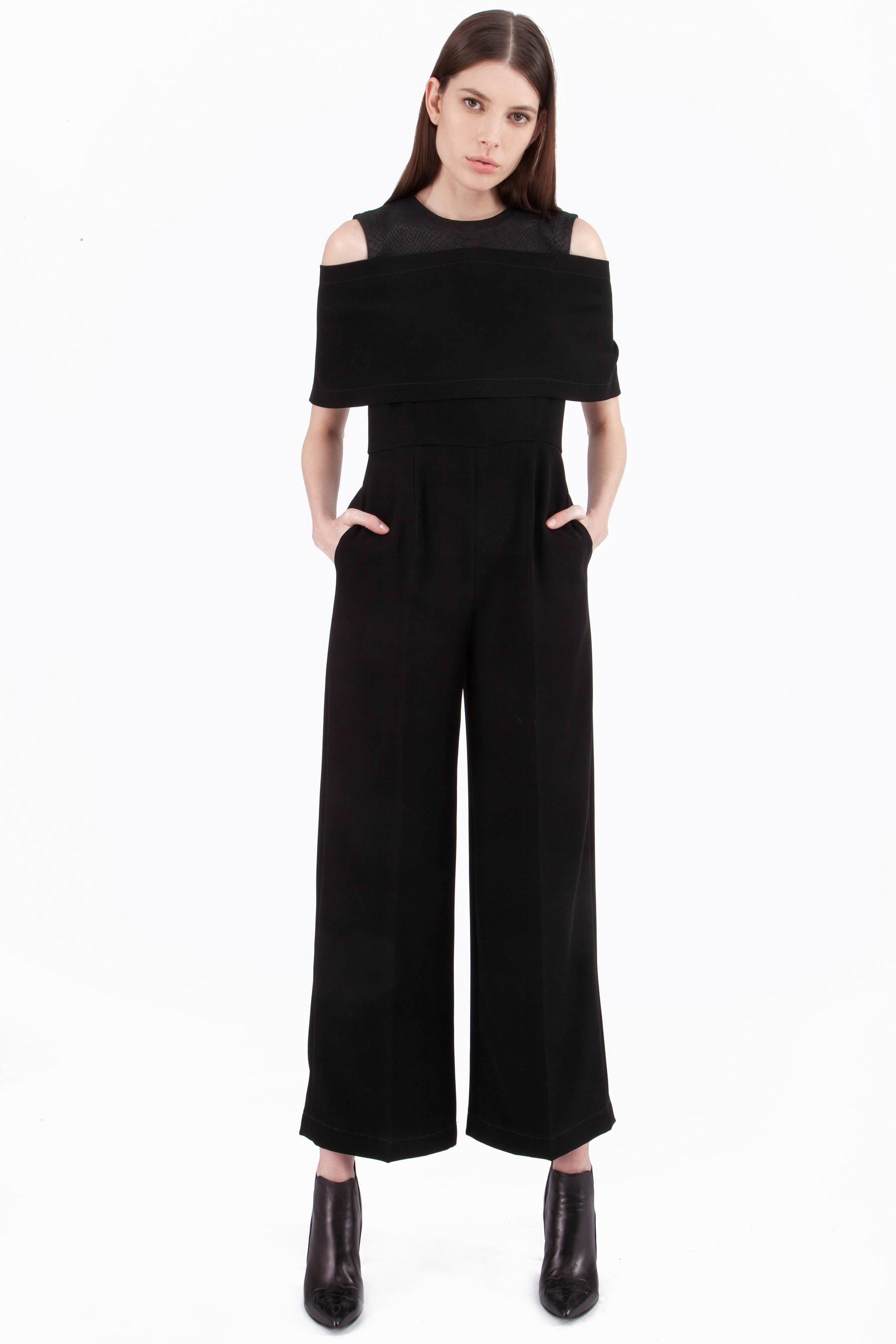 8c16cc8f7964 Yigal Azrouël Cut Out Cape Front Jumpsuit in Black - Lyst