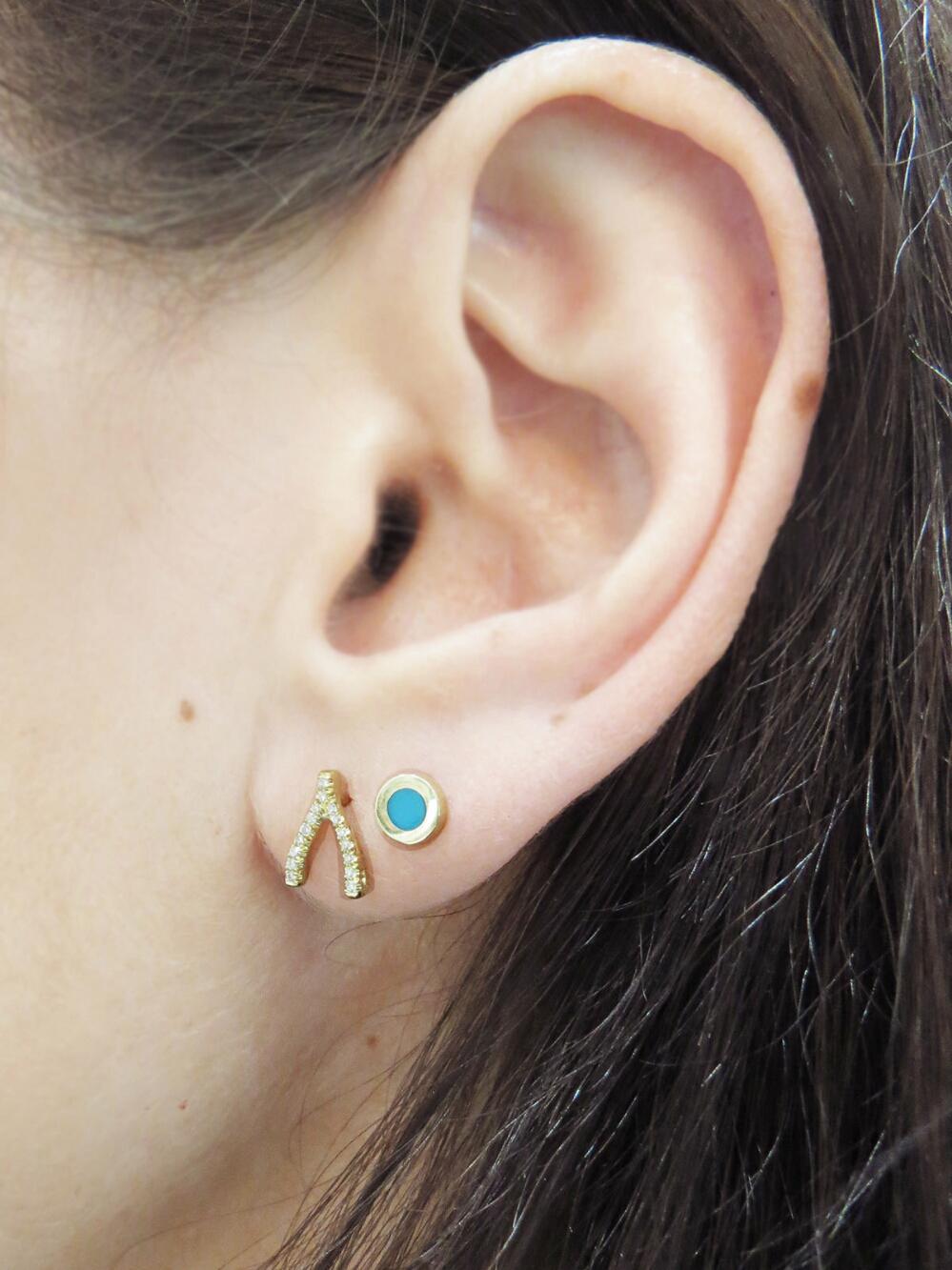 Jennifer Meyer Metallic Diamond Wishbone Stud Earrings Lyst View Fullscreen