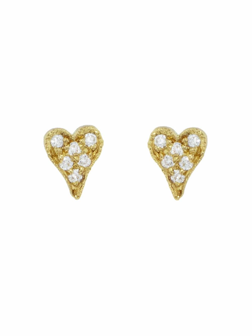 2da2a6f91fad7 Lyst - Cathy Waterman Diamond Tiny Heart Stud Earrings in Metallic