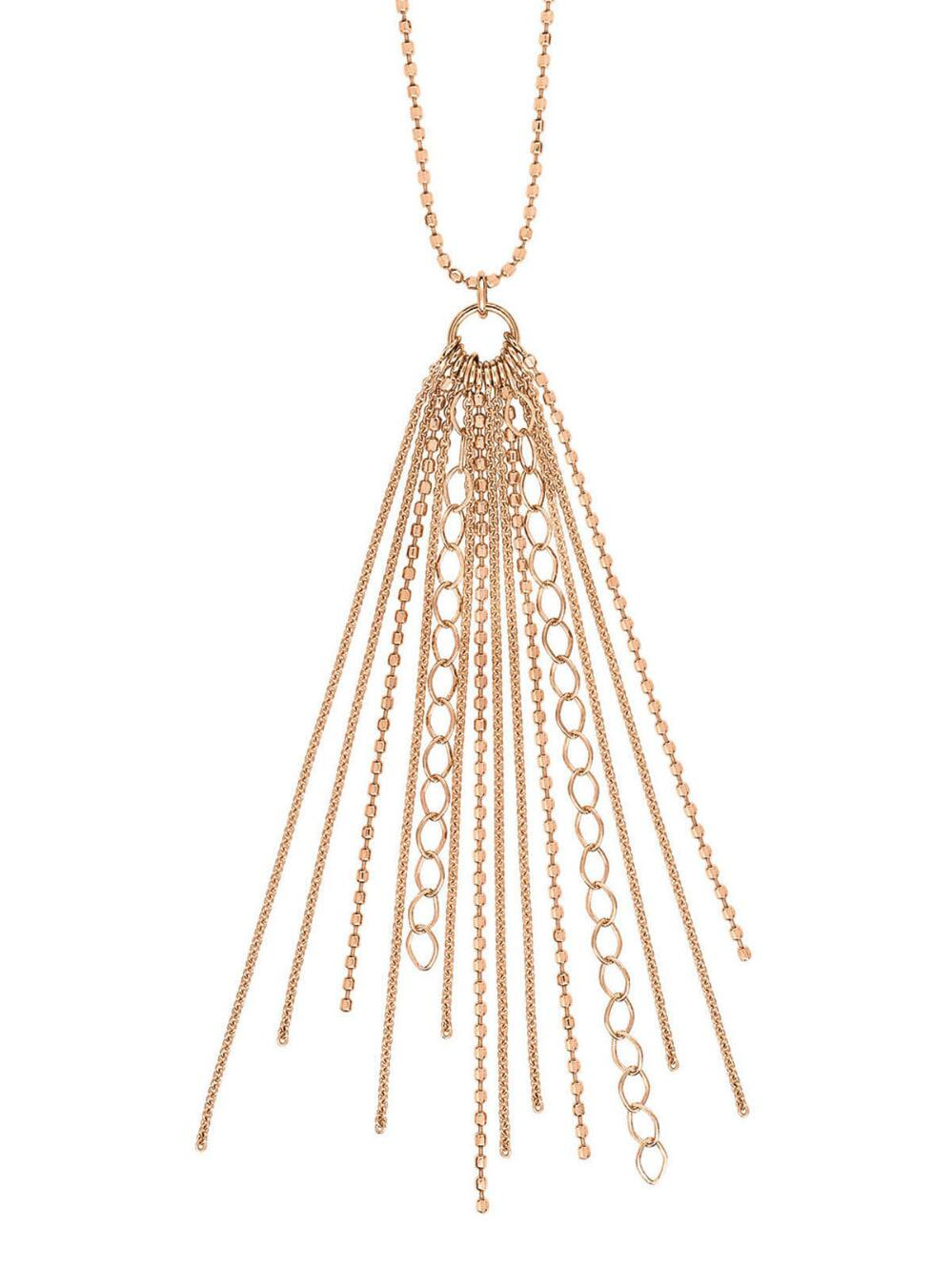 Long Unchained 18-karat rose gold necklace Ginette NY ggEOiG
