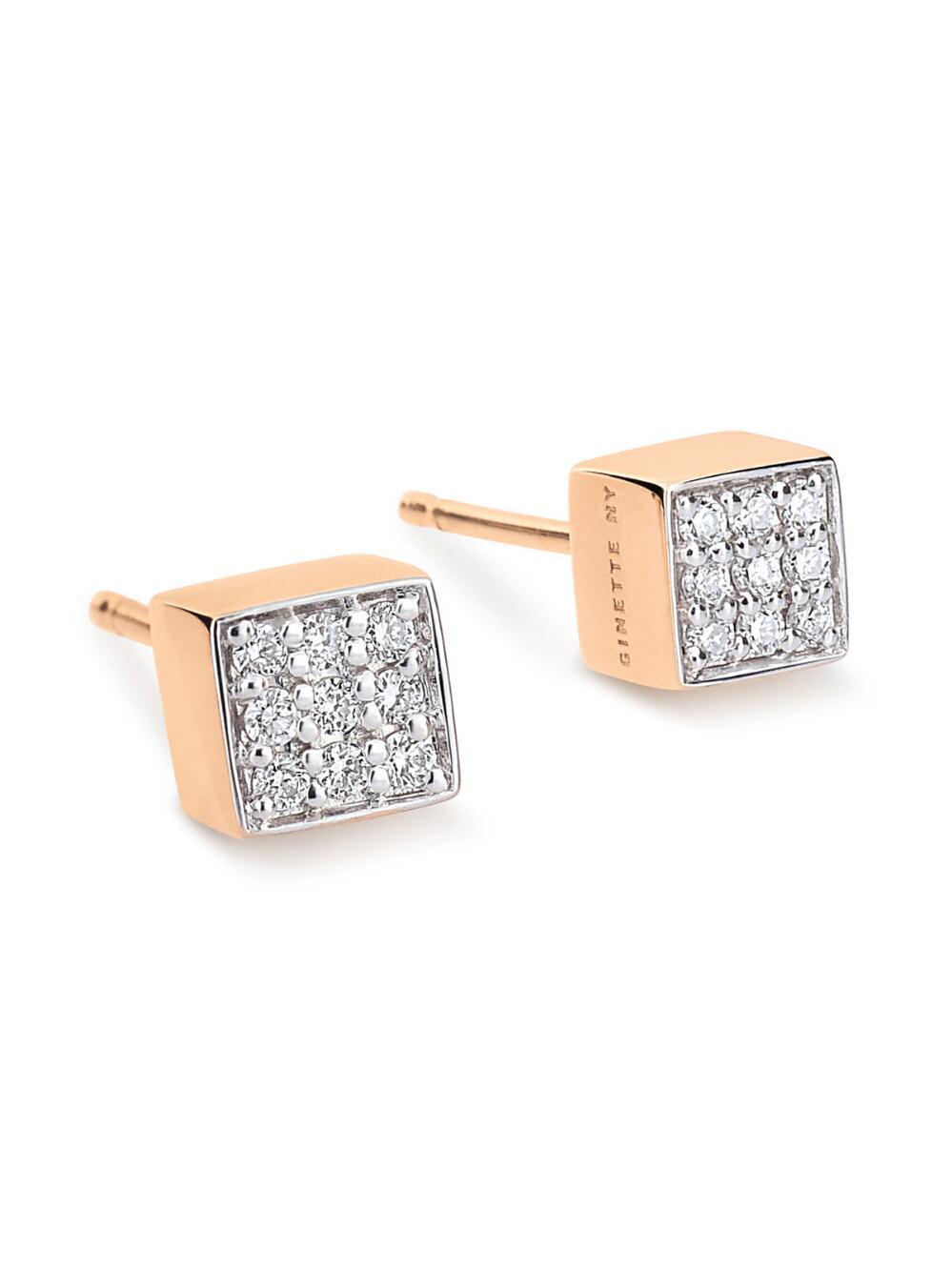 Ginette NY Mini Diamond Ever 18-karat rose gold studs OxlifyaW